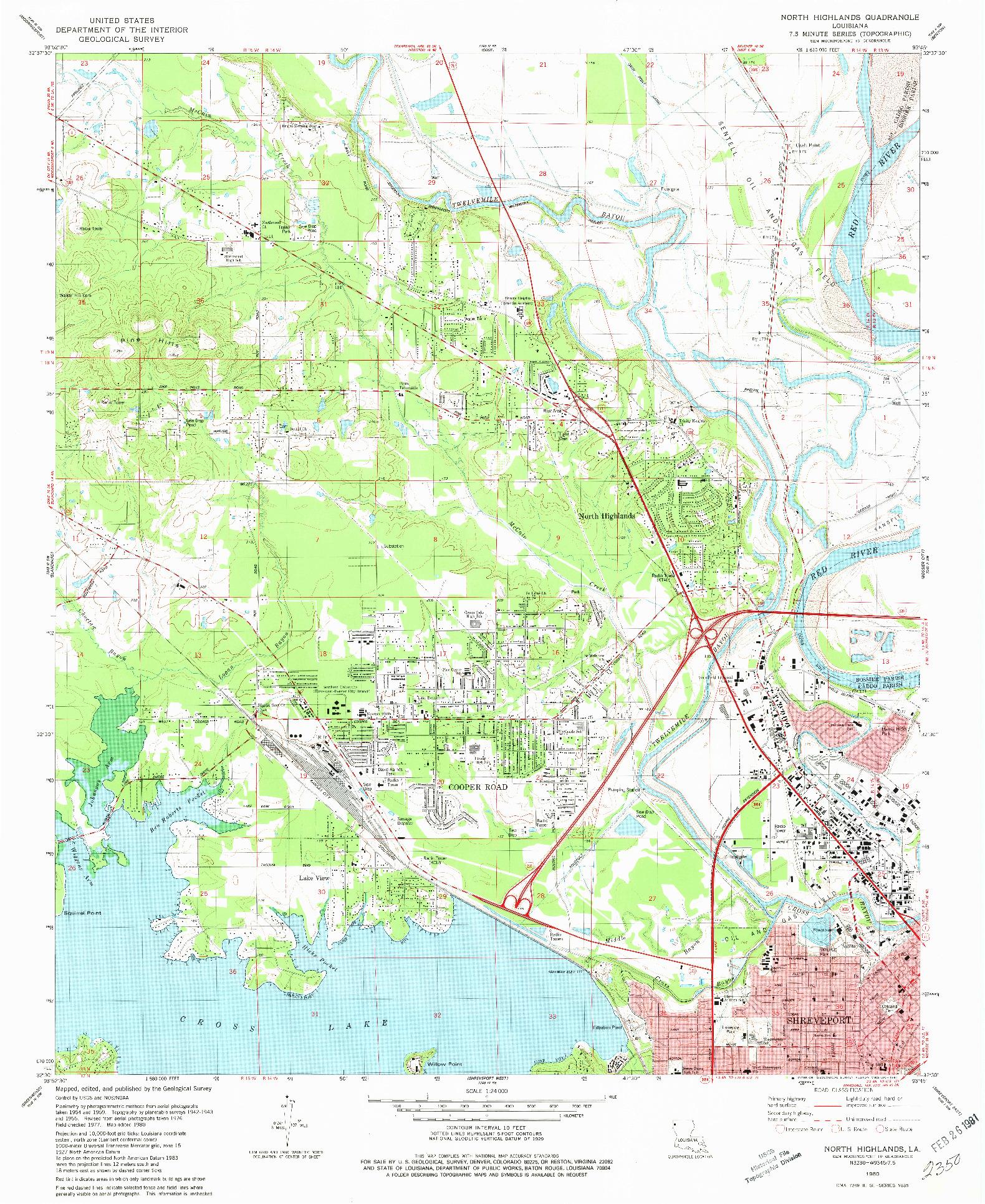 USGS 1:24000-SCALE QUADRANGLE FOR NORTH HIGHLANDS, LA 1980