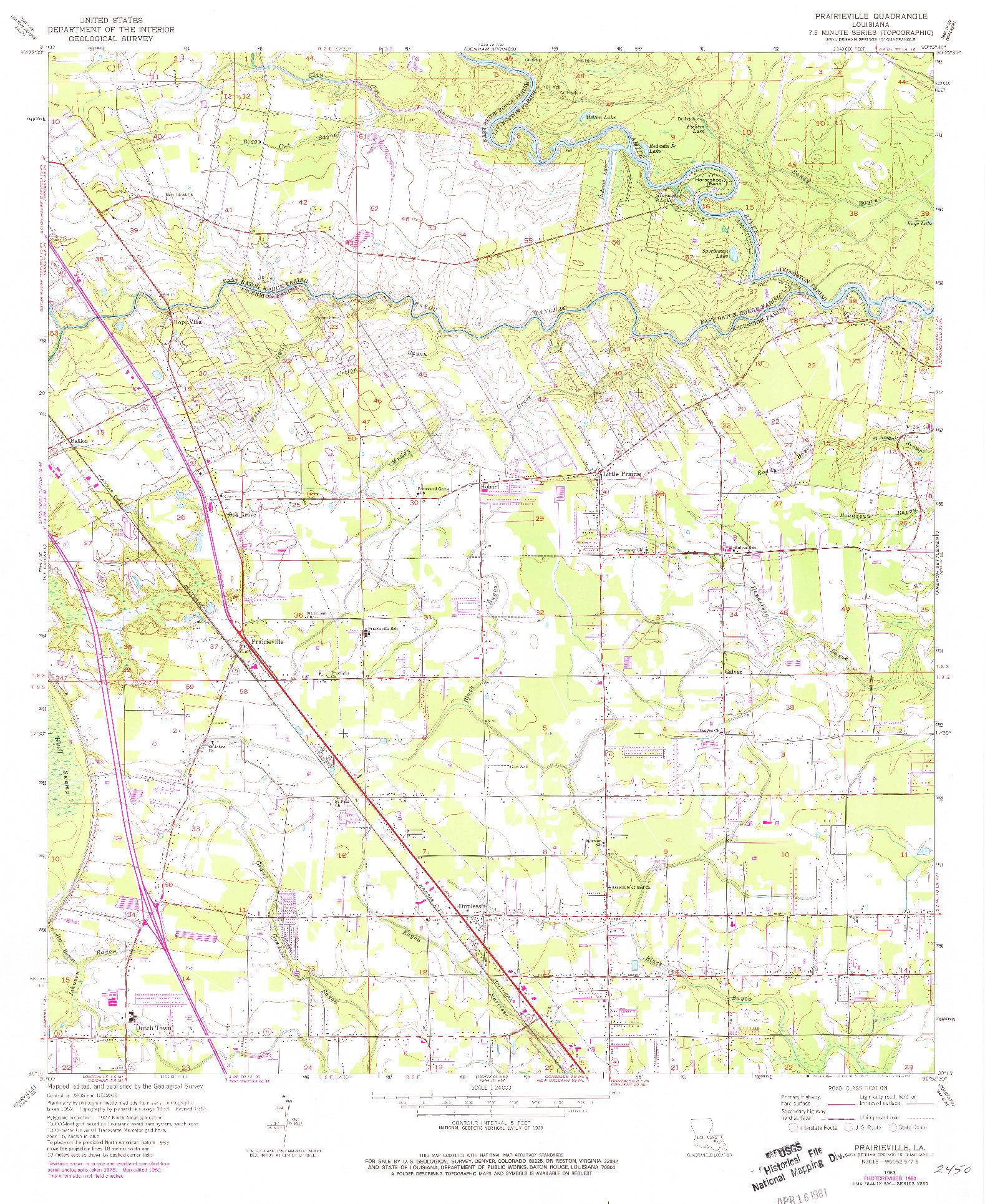 USGS 1:24000-SCALE QUADRANGLE FOR PRAIRIEVILLE, LA 1963