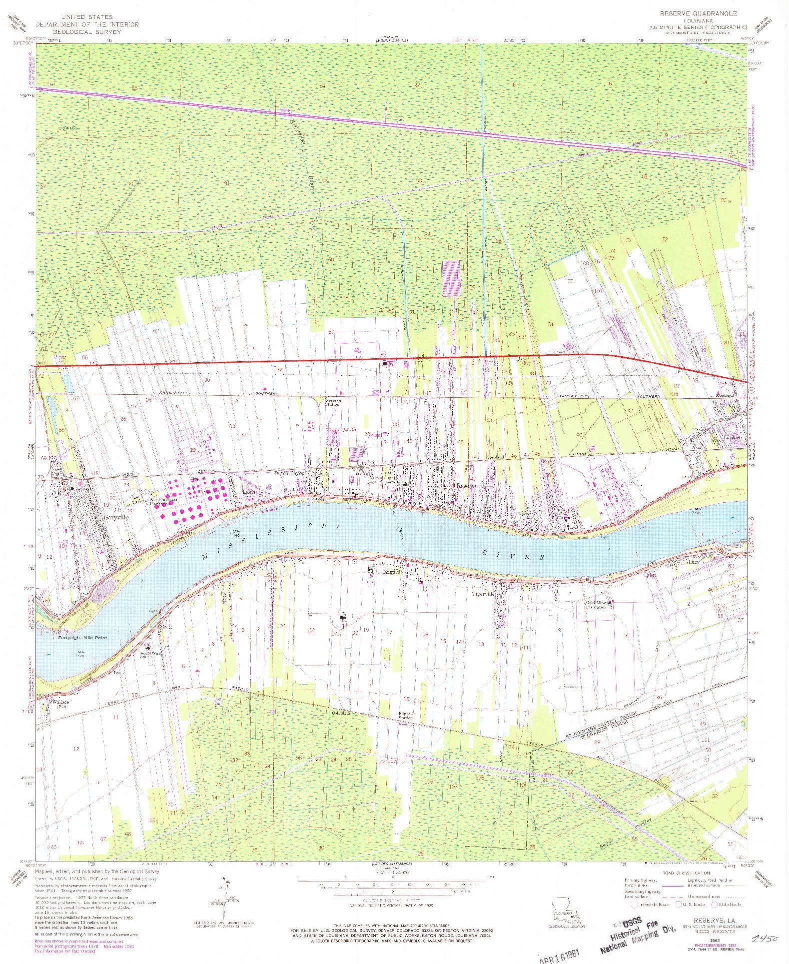 USGS 1:24000-SCALE QUADRANGLE FOR RESERVE, LA 1962