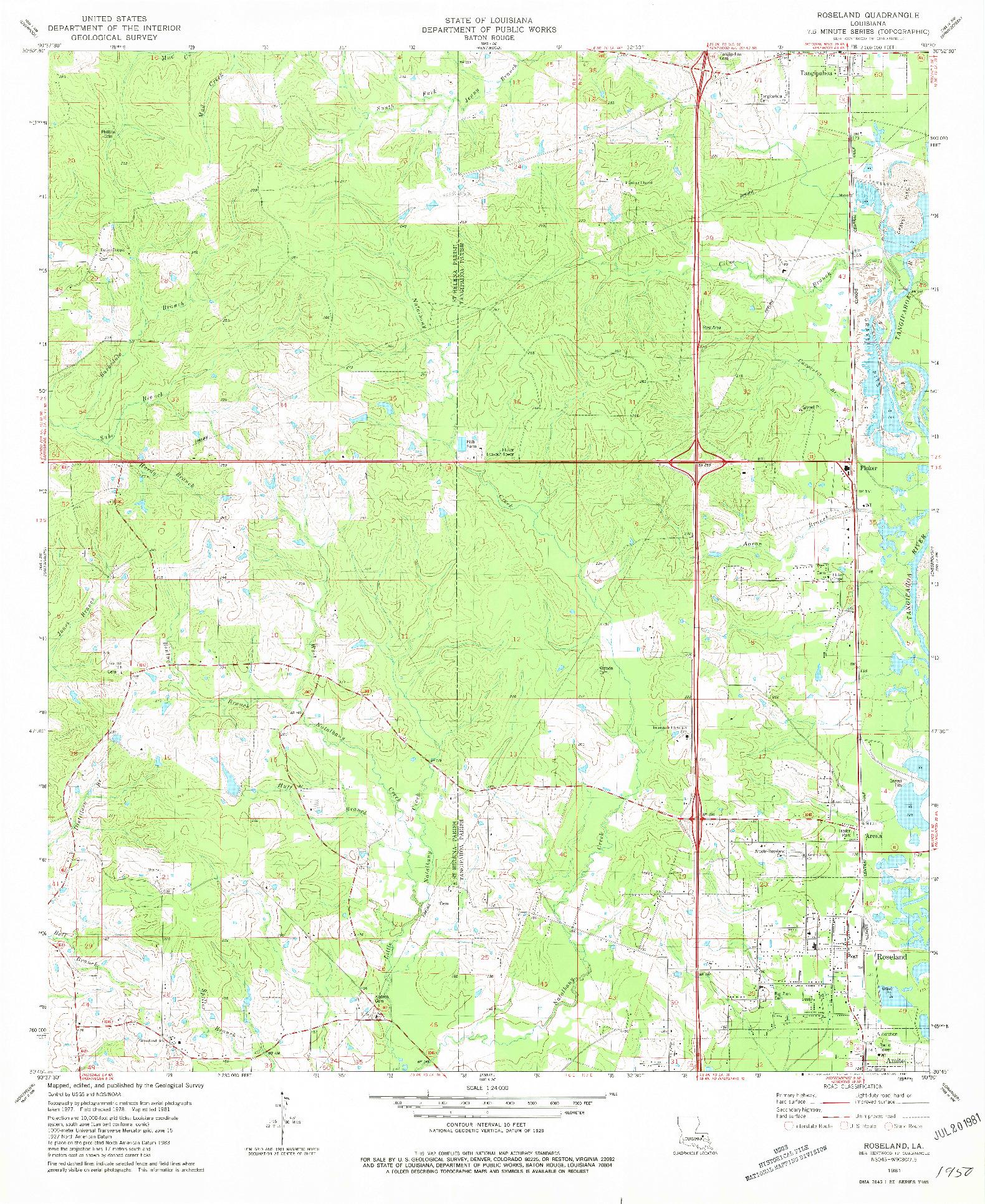 USGS 1:24000-SCALE QUADRANGLE FOR ROSELAND, LA 1981