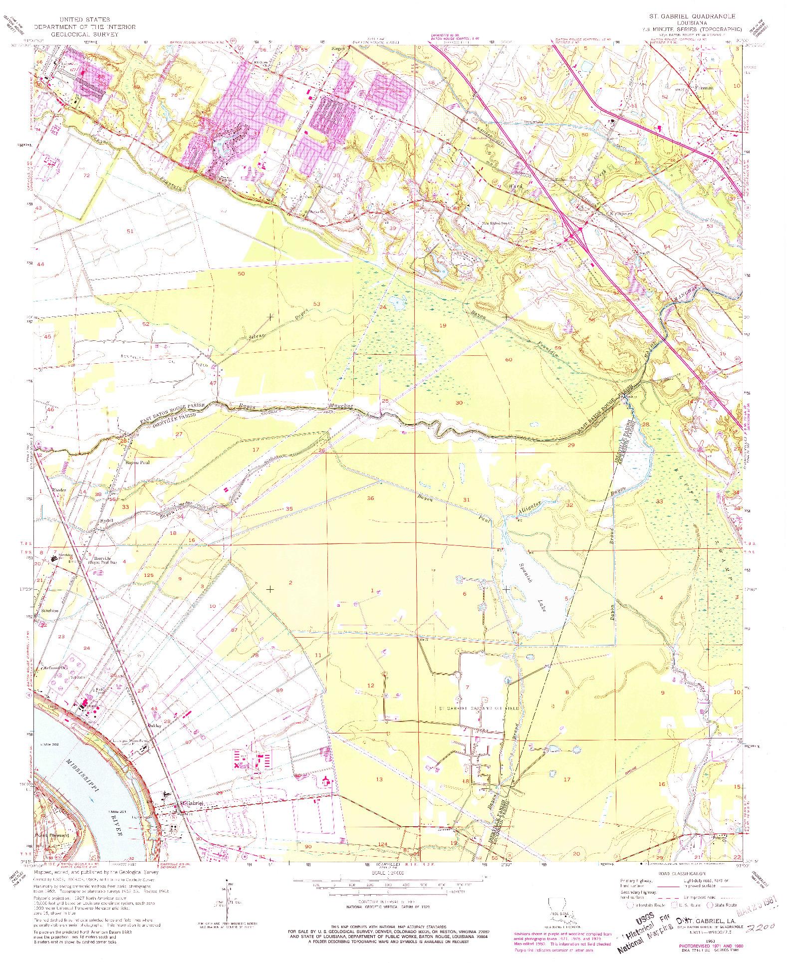 USGS 1:24000-SCALE QUADRANGLE FOR ST. GABRIEL, LA 1963