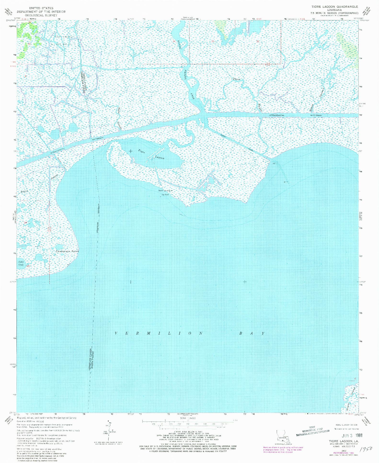 USGS 1:24000-SCALE QUADRANGLE FOR TIGRE LAGOON, LA 1963