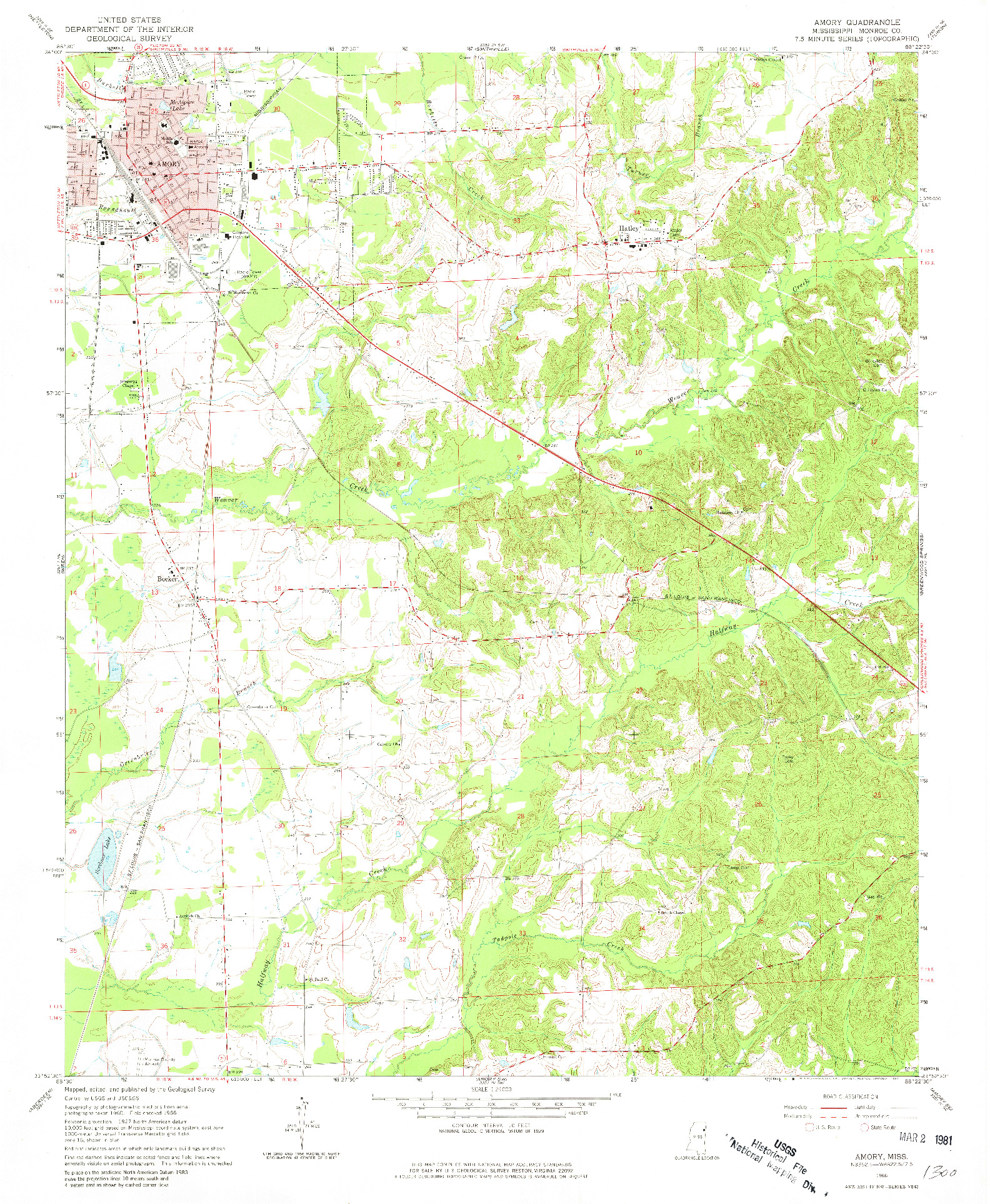USGS 1:24000-SCALE QUADRANGLE FOR AMORY, MS 1966