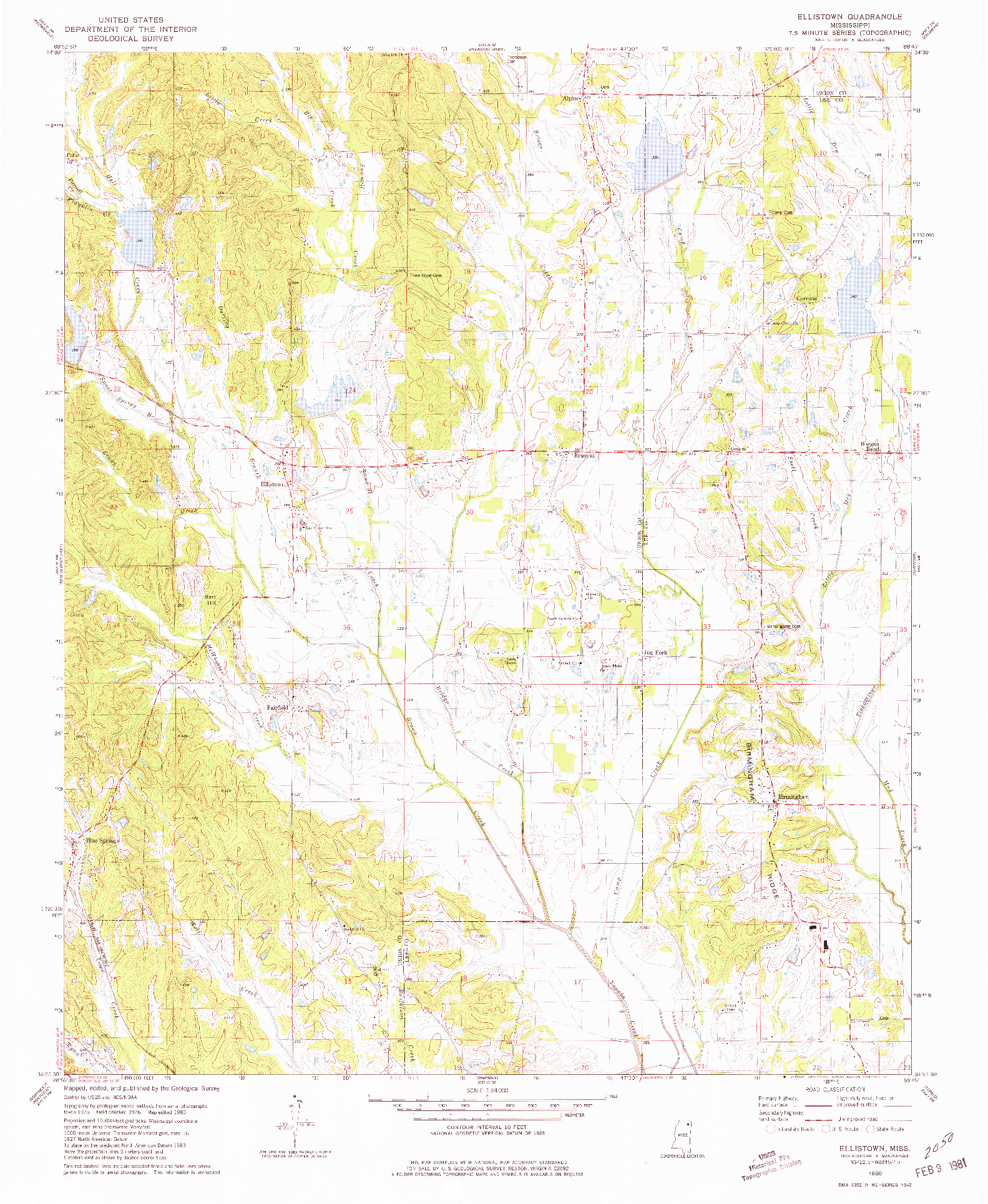 USGS 1:24000-SCALE QUADRANGLE FOR ELLISTOWN, MS 1980