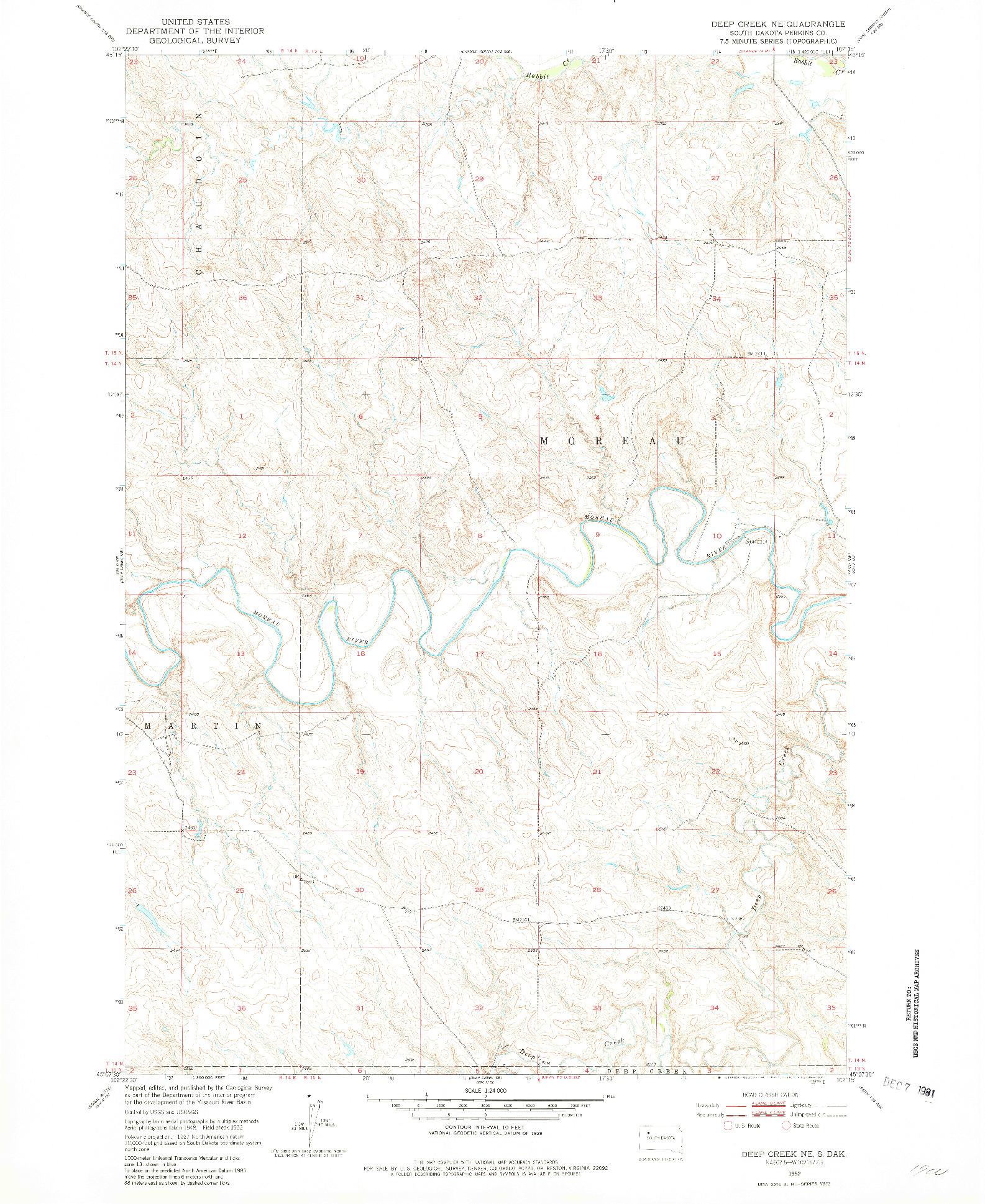 USGS 1:24000-SCALE QUADRANGLE FOR DEEP CREEK NE, SD 1952