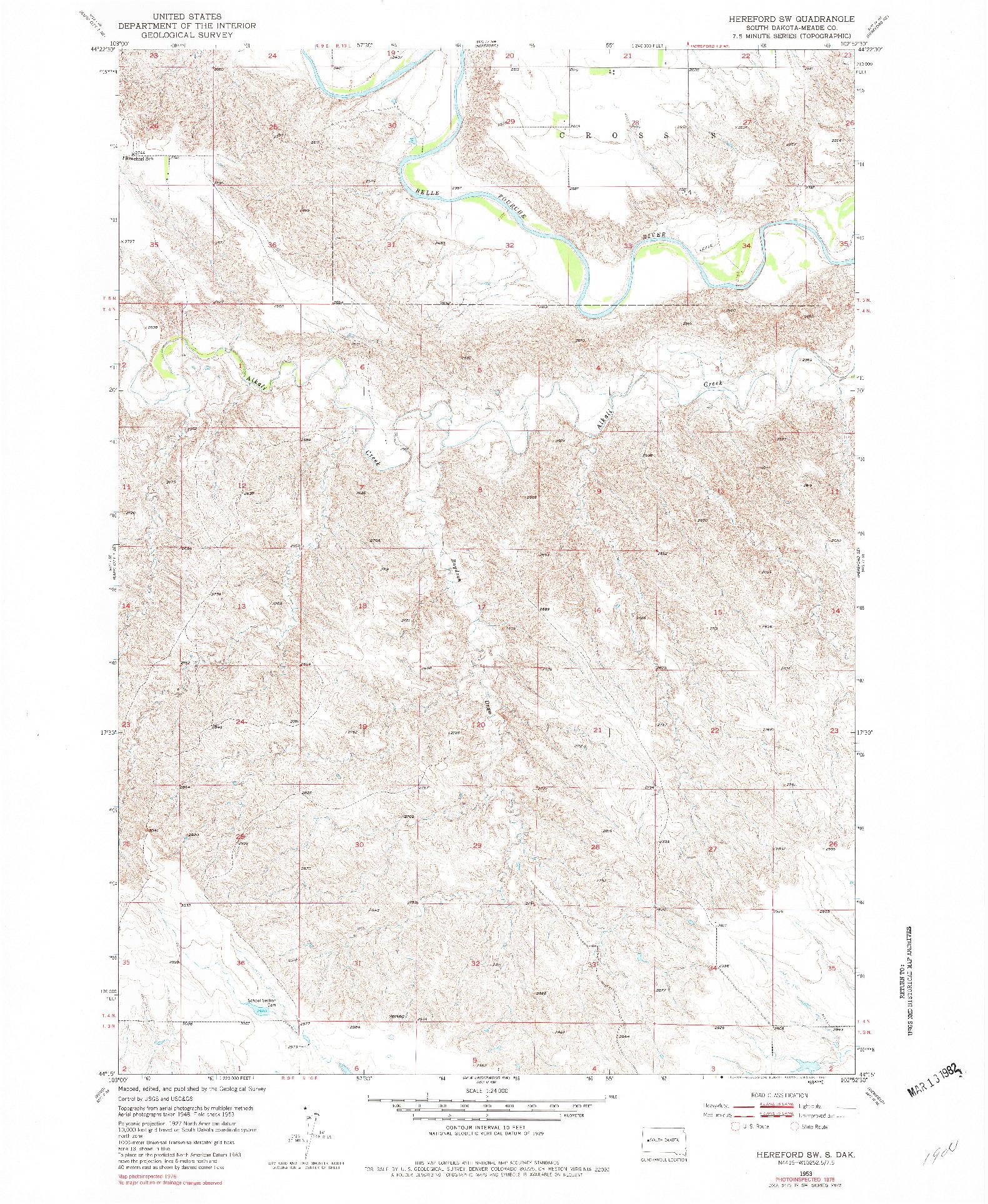 USGS 1:24000-SCALE QUADRANGLE FOR HEREFORD SW, SD 1953