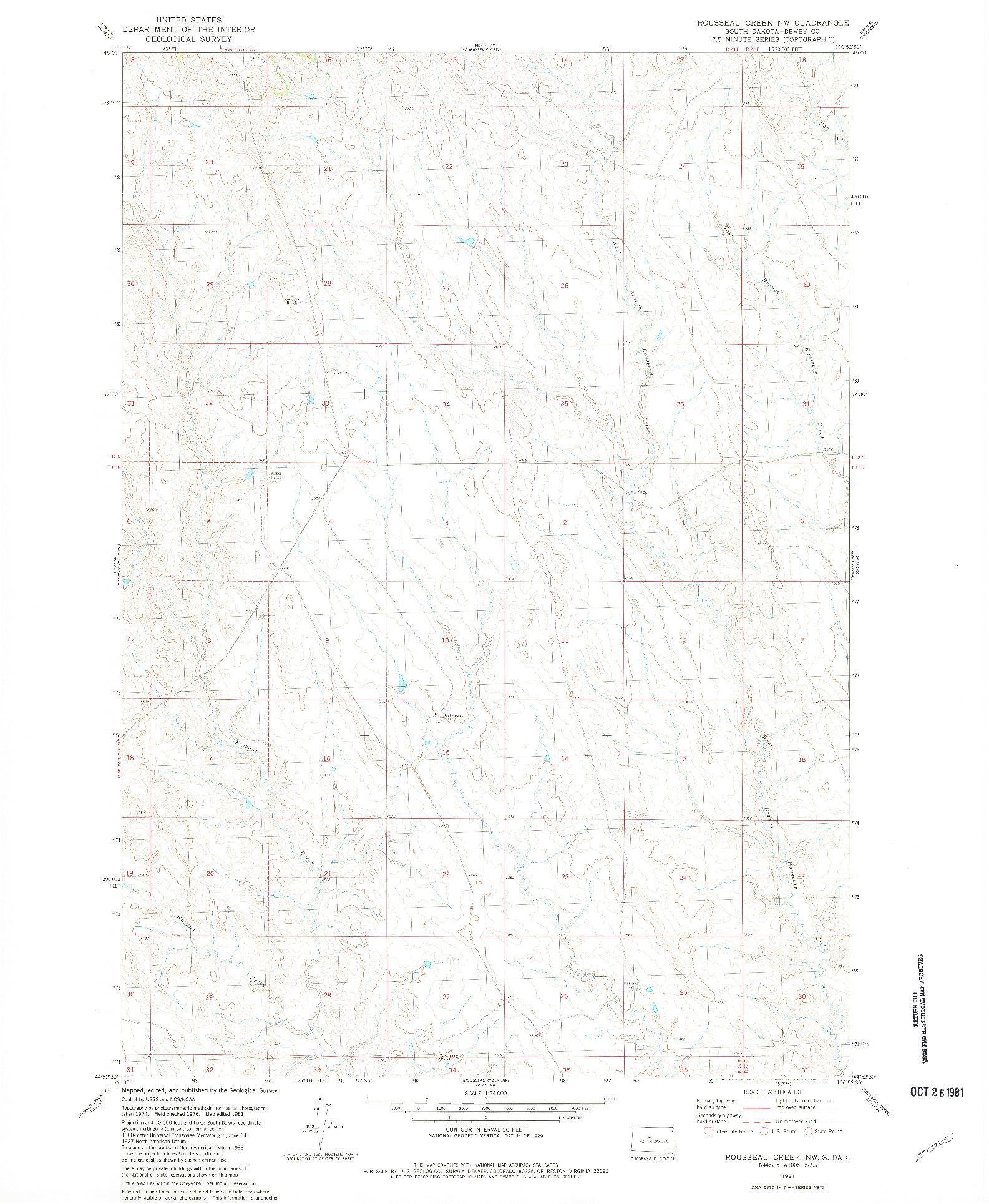 USGS 1:24000-SCALE QUADRANGLE FOR ROUSSEAU CREEK NW, SD 1981
