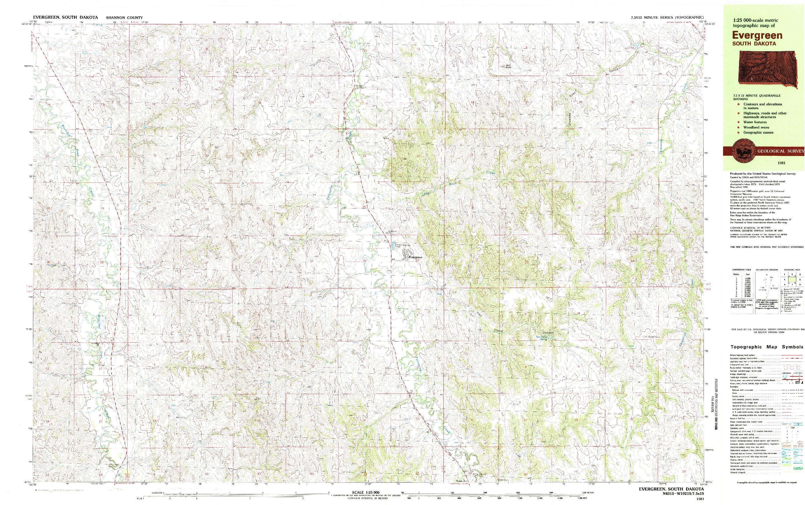 USGS 1:25000-SCALE QUADRANGLE FOR EVERGREEN, SD 1981