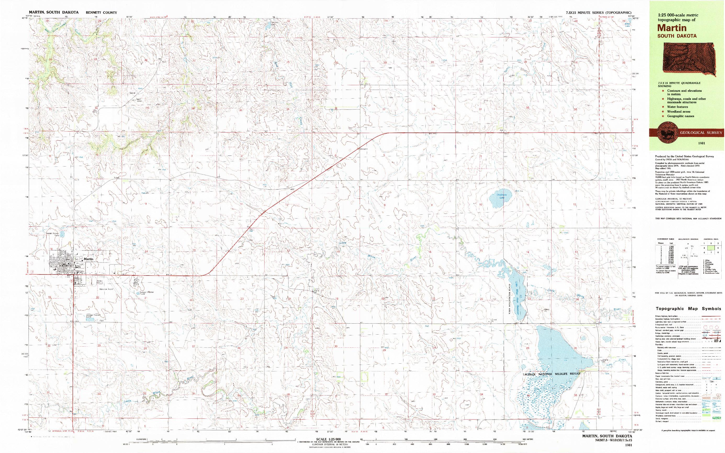 USGS 1:25000-SCALE QUADRANGLE FOR MARTIN, SD 1981