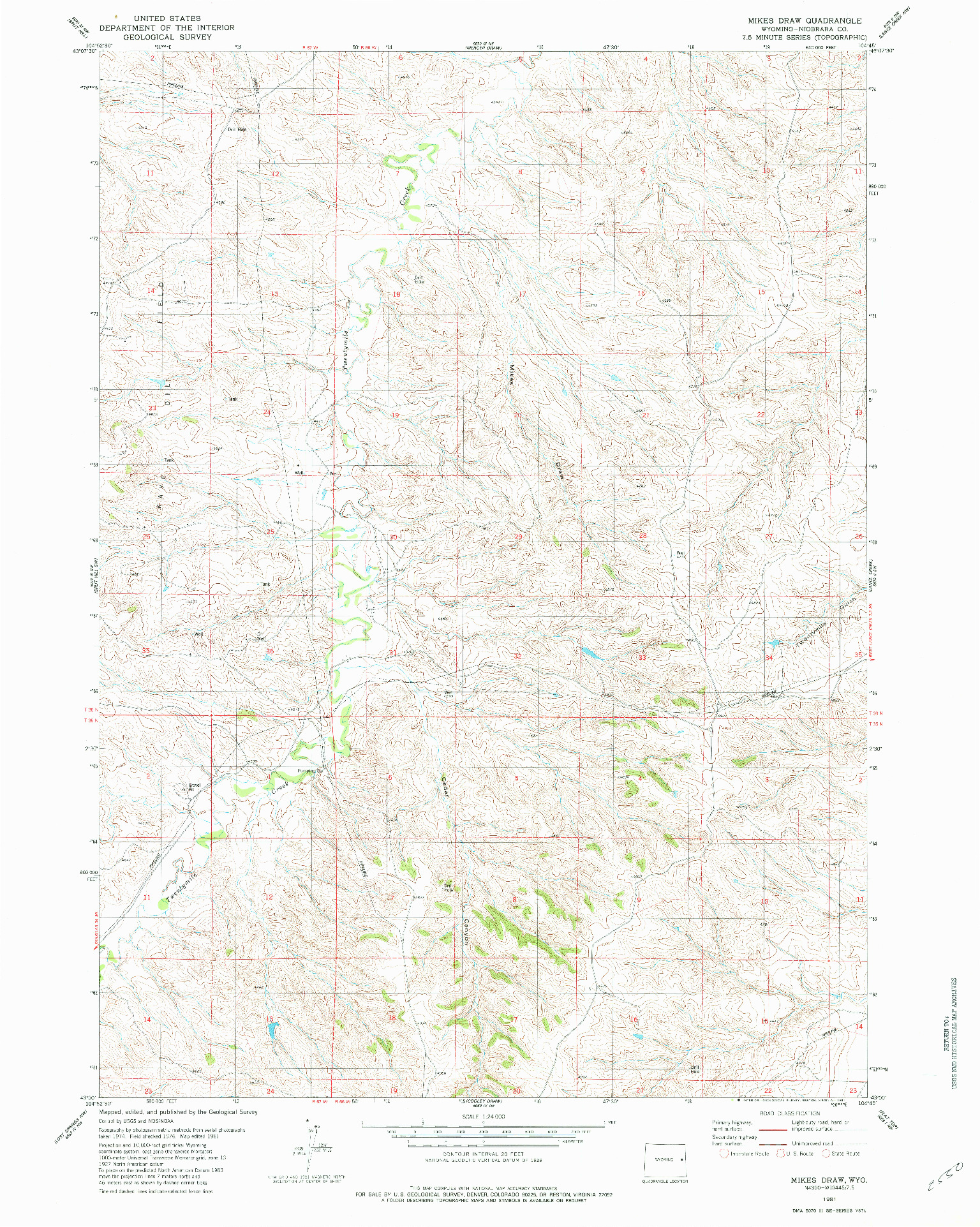 USGS 1:24000-SCALE QUADRANGLE FOR MIKES DRAW, WY 1981