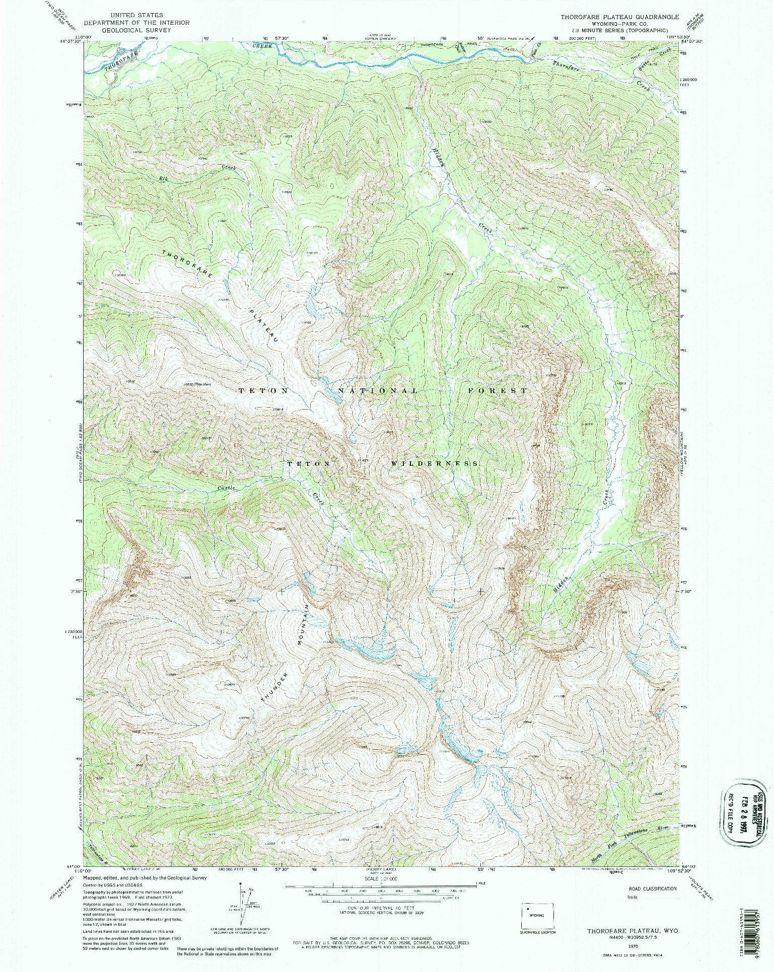 USGS 1:24000-SCALE QUADRANGLE FOR THOROFARE PLATEAU, WY 1970