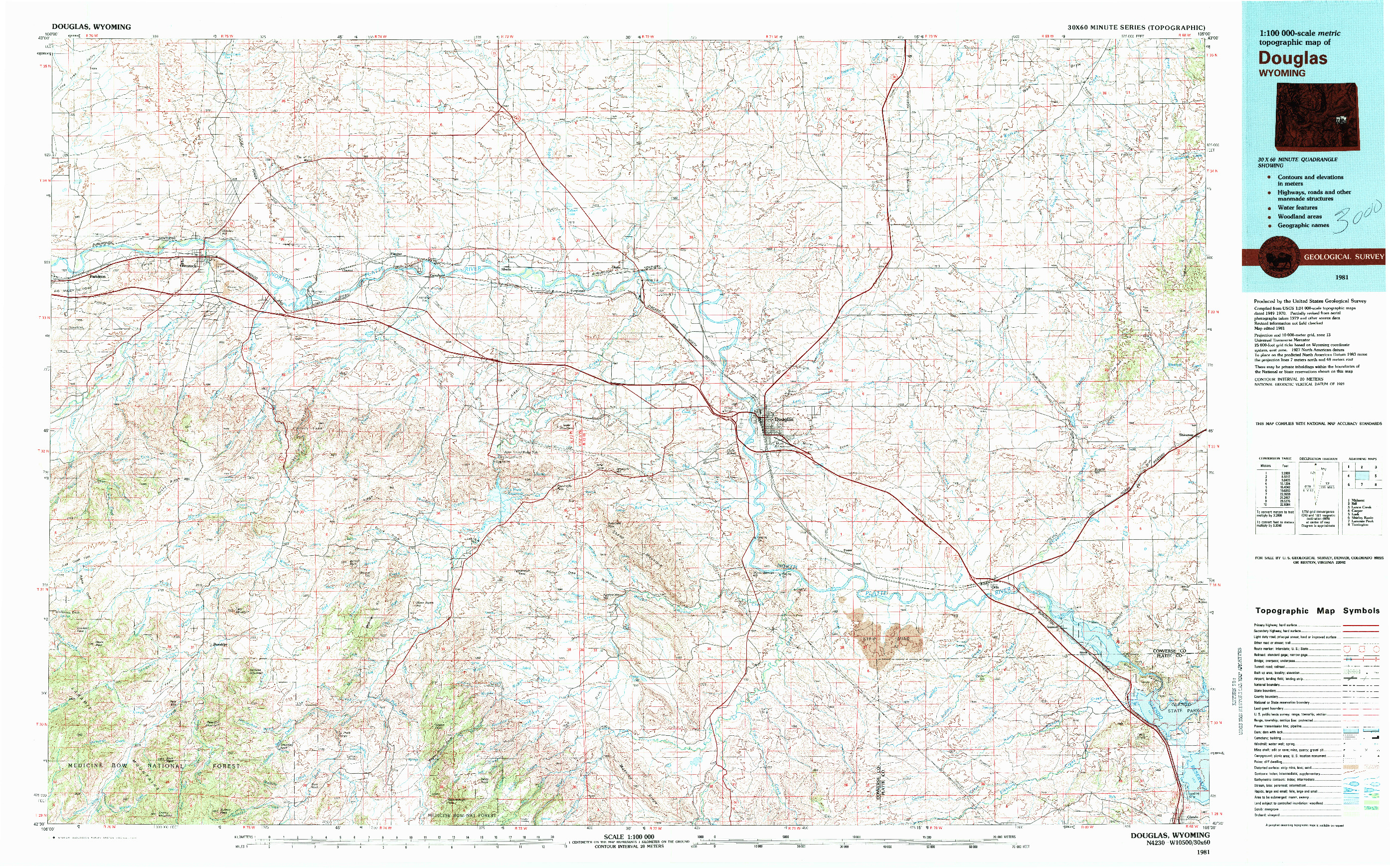 USGS 1:100000-SCALE QUADRANGLE FOR DOUGLAS, WY 1981