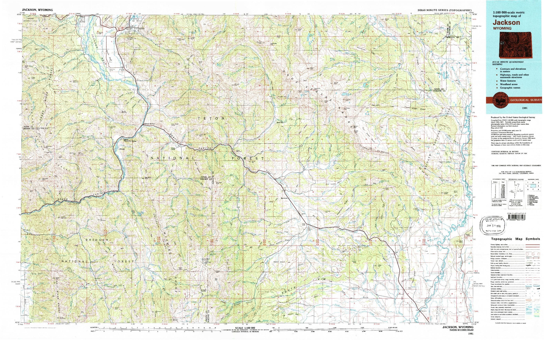 USGS 1:100000-SCALE QUADRANGLE FOR JACKSON, WY 1981