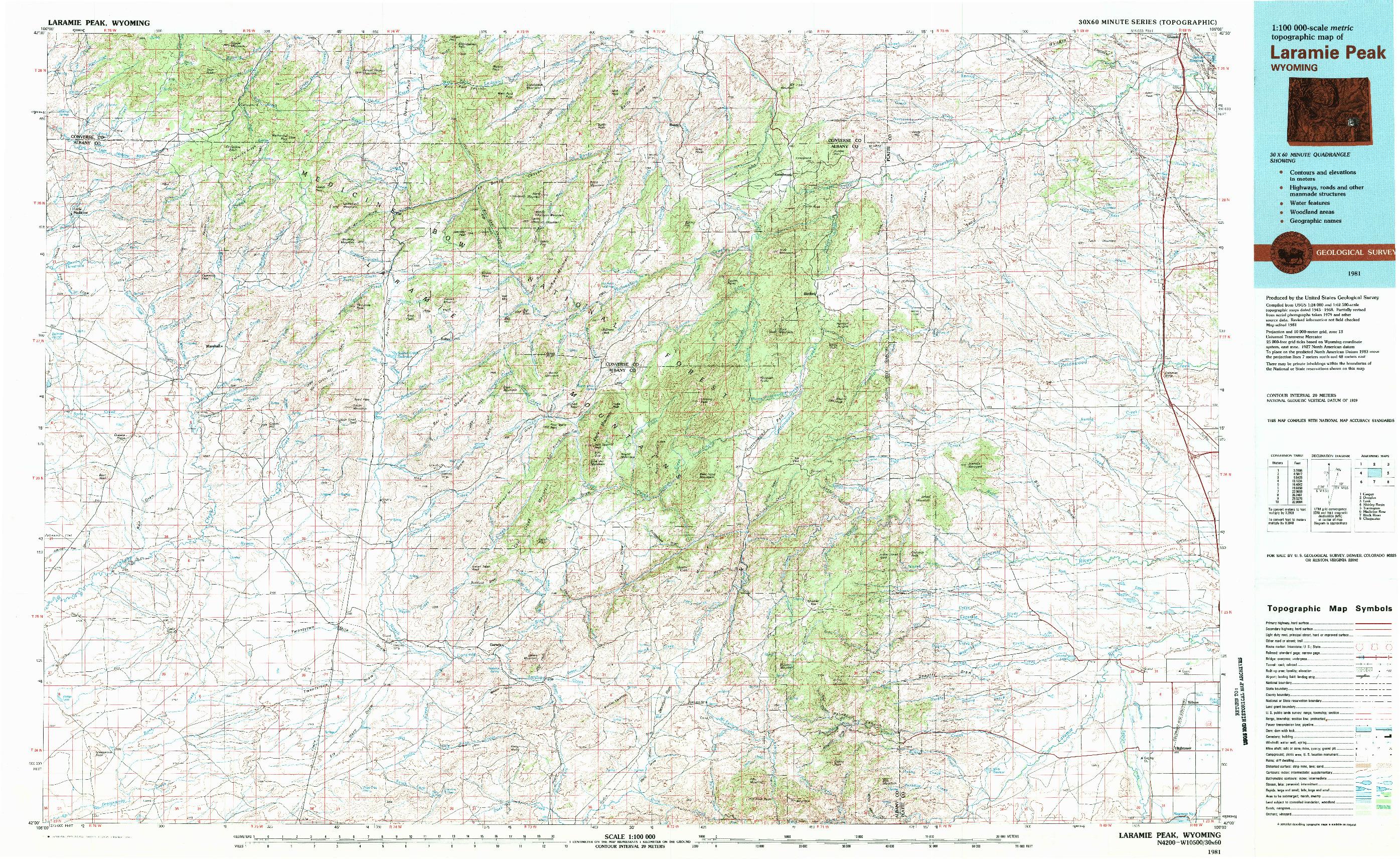 USGS 1:100000-SCALE QUADRANGLE FOR LARAMIE PEAK, WY 1981