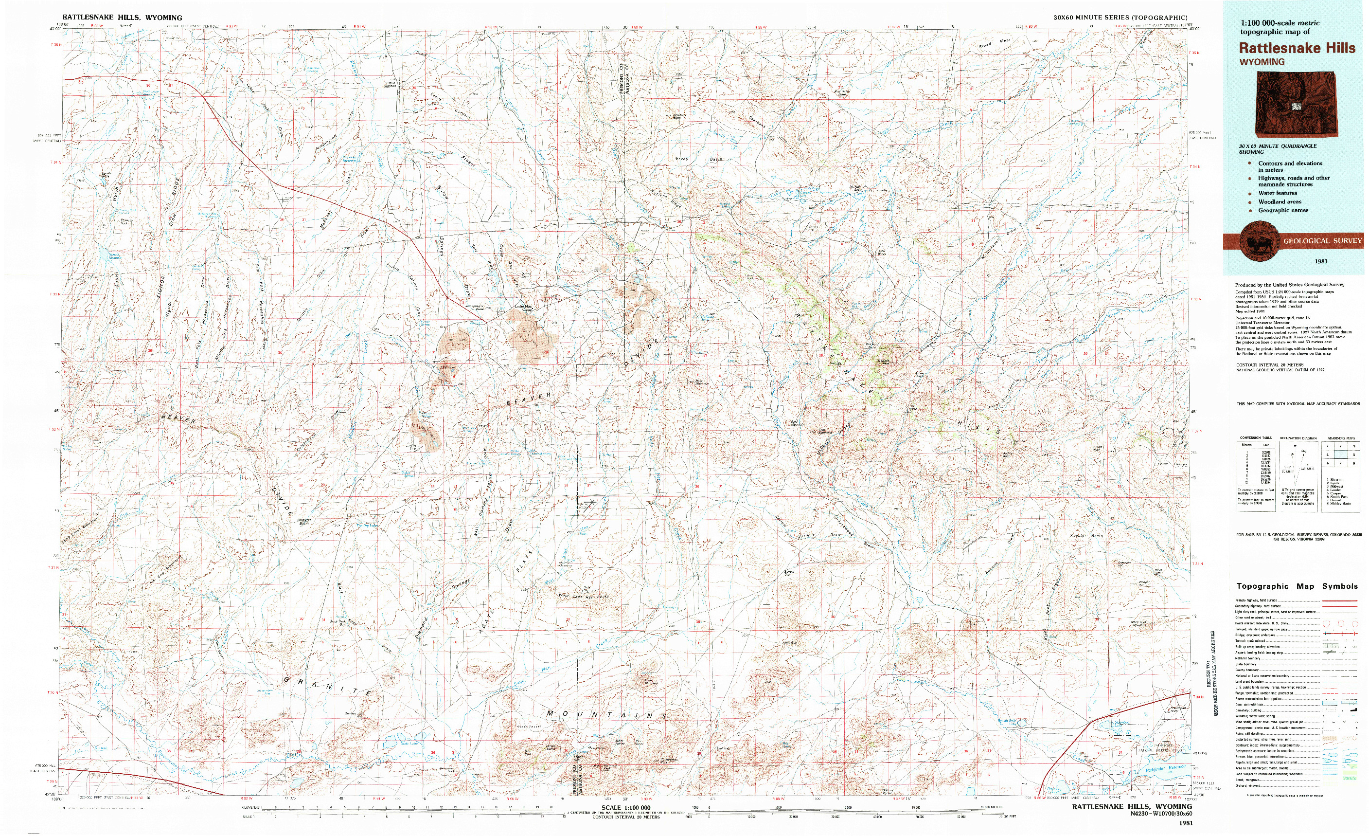 USGS 1:100000-SCALE QUADRANGLE FOR RATTLESNAKE HILLS, WY 1981