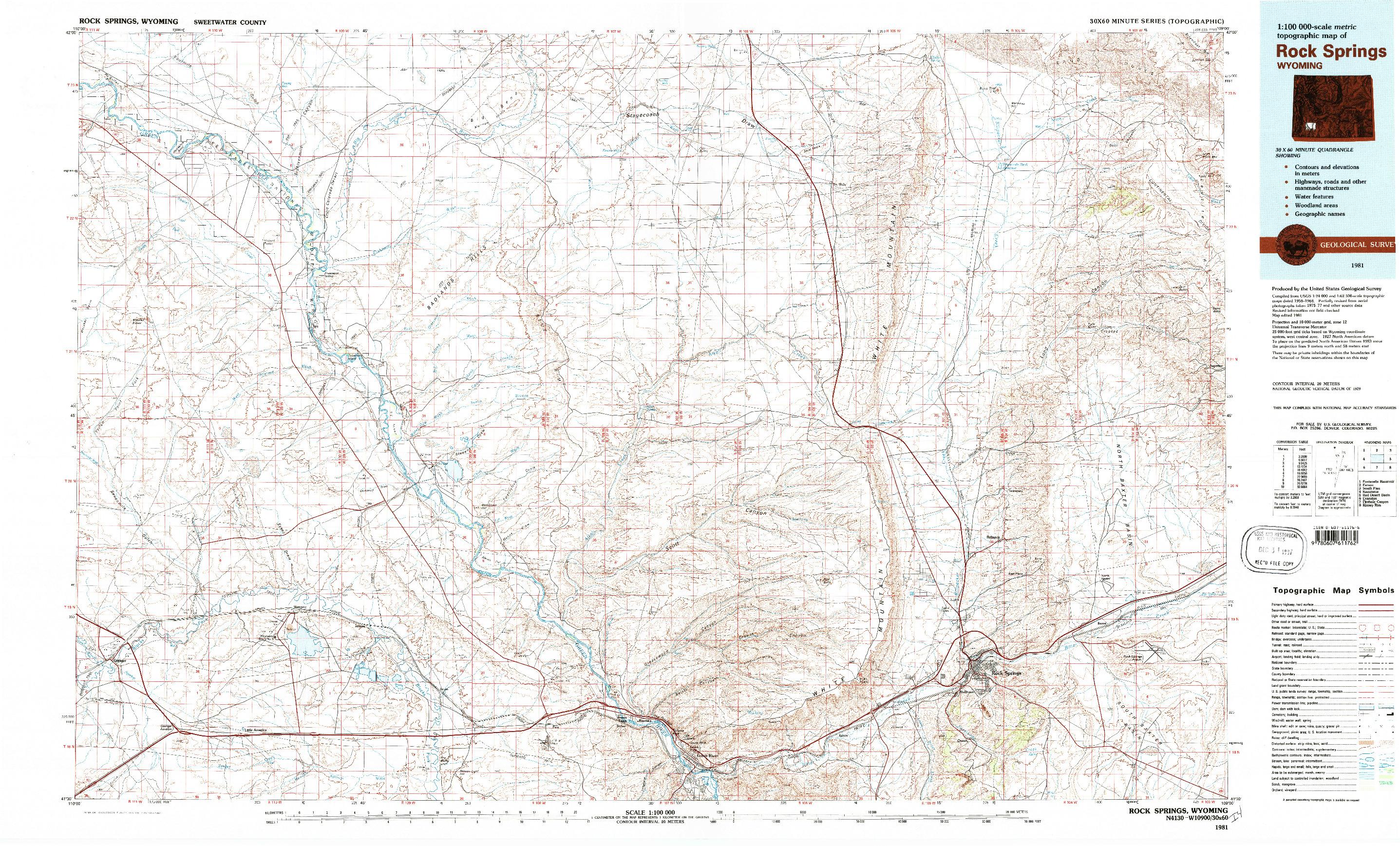 USGS 1:100000-SCALE QUADRANGLE FOR ROCK SPRINGS, WY 1981