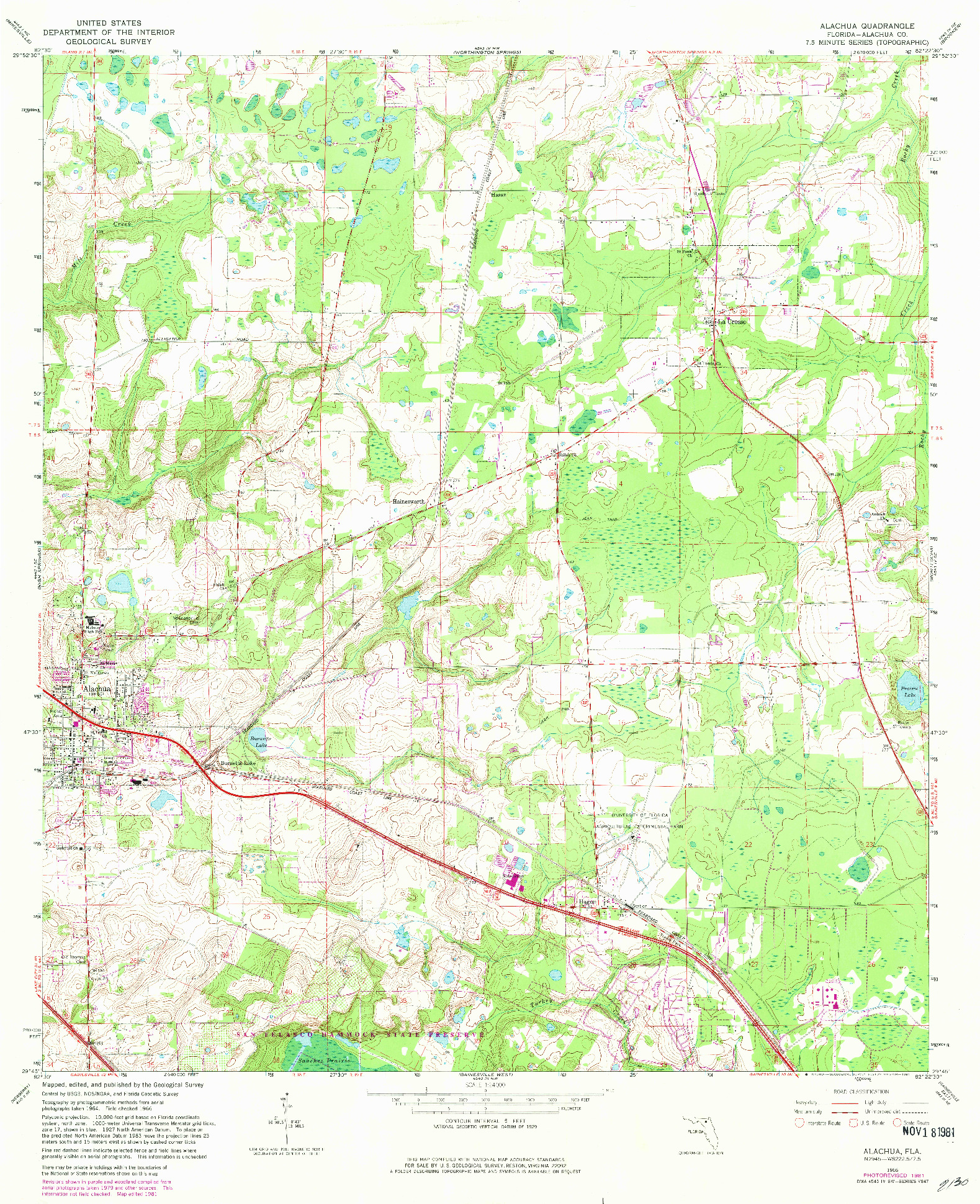 USGS 1:24000-SCALE QUADRANGLE FOR ALACHUA, FL 1966
