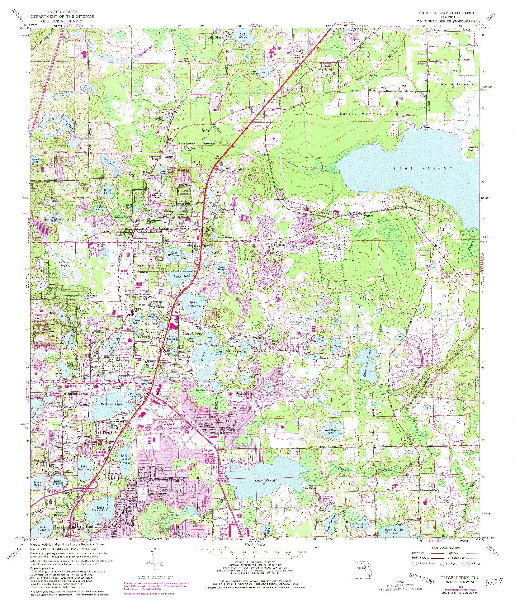 USGS 1:24000-SCALE QUADRANGLE FOR CASSELBERRY, FL 1962