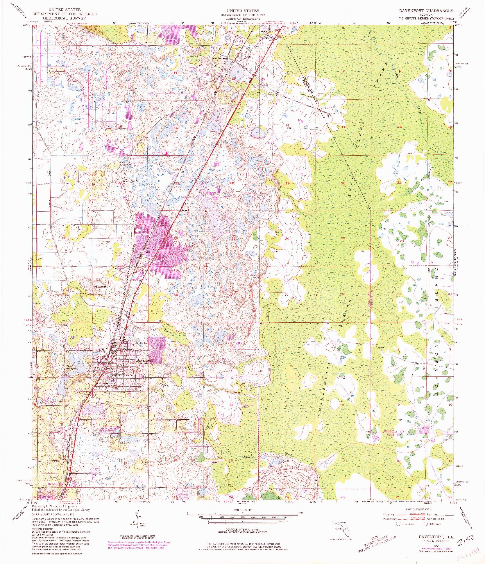USGS 1:24000-SCALE QUADRANGLE FOR DAVENPORT, FL 1953