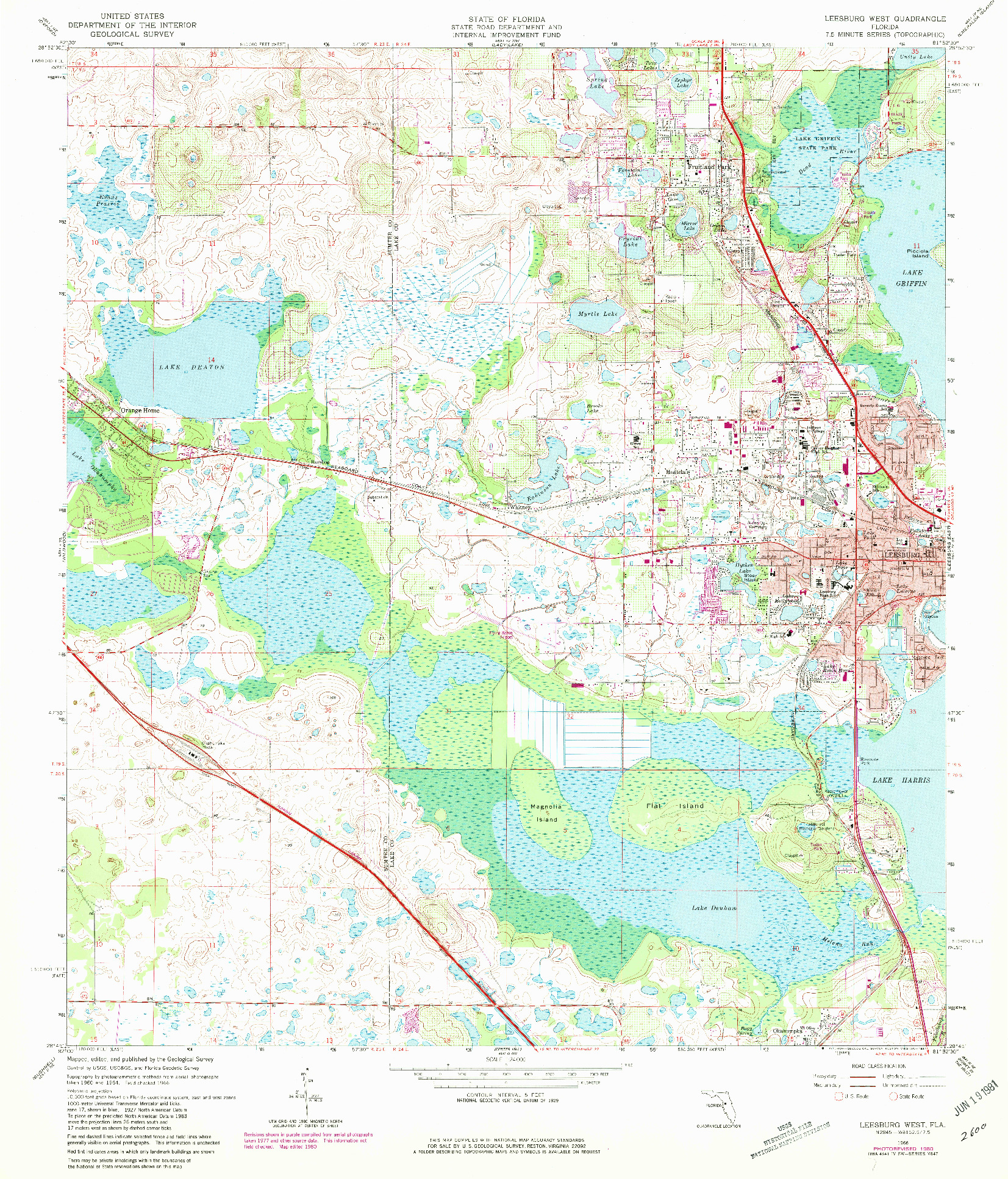 USGS 1:24000-SCALE QUADRANGLE FOR LEESBURG WEST, FL 1966
