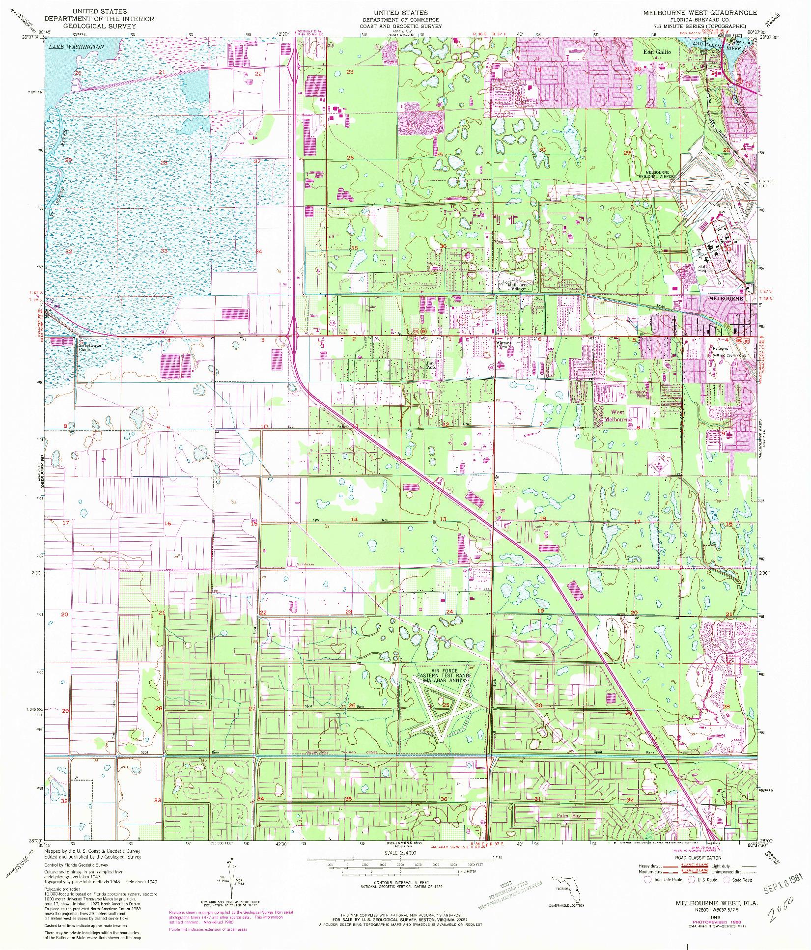 USGS 1:24000-SCALE QUADRANGLE FOR MELBOURNE WEST, FL 1949