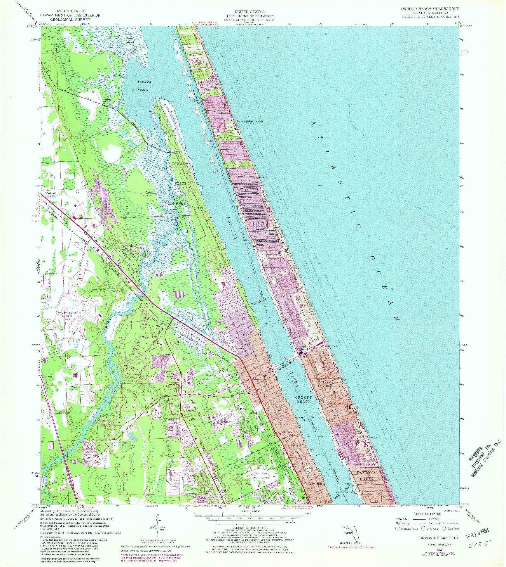 USGS 1:24000-SCALE QUADRANGLE FOR ORMOND BEACH, FL 1956
