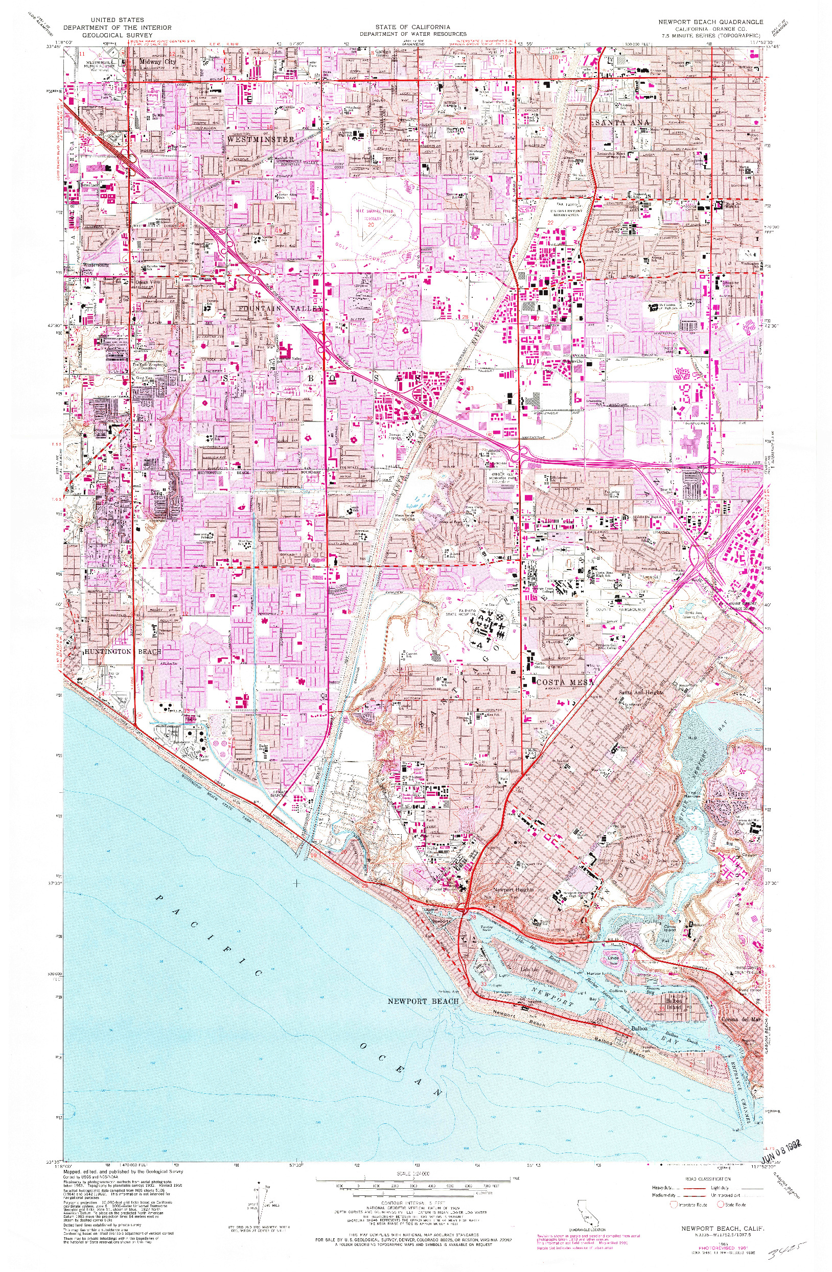 USGS 1:24000-SCALE QUADRANGLE FOR NEWPORT BEACH, CA 1965