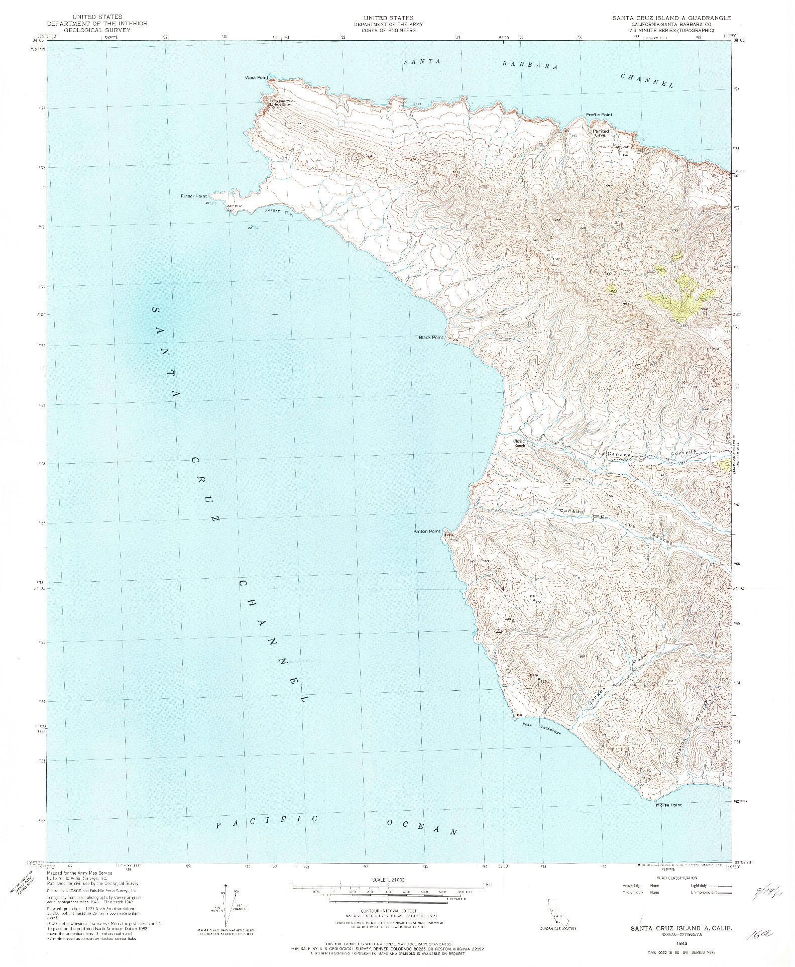 USGS 1:24000-SCALE QUADRANGLE FOR SANTA CRUZ ISLAND A, CA 1943