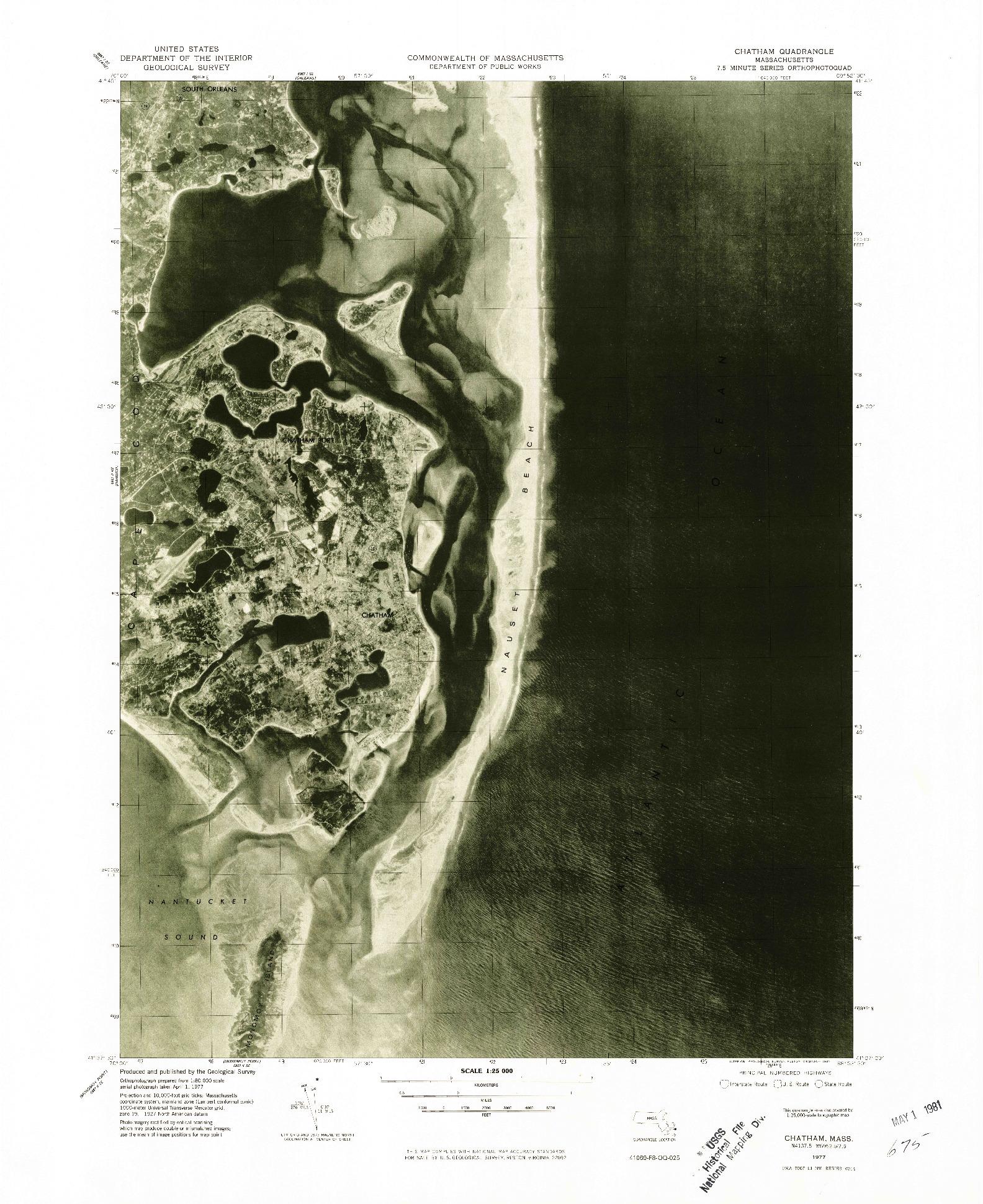 USGS 1:25000-SCALE QUADRANGLE FOR CHATHAM, MA 1977