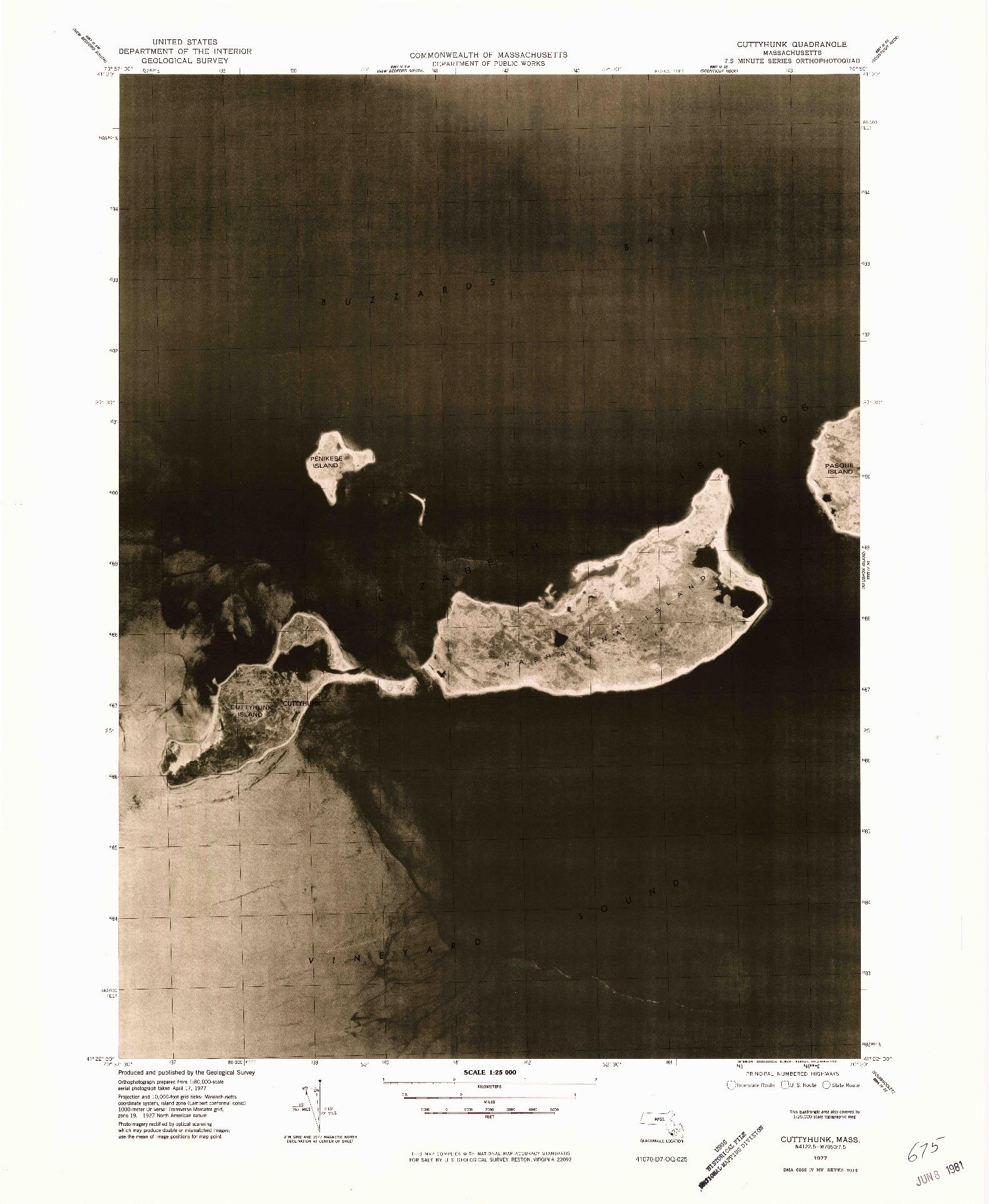 USGS 1:25000-SCALE QUADRANGLE FOR CUTTYHUNK, MA 1977