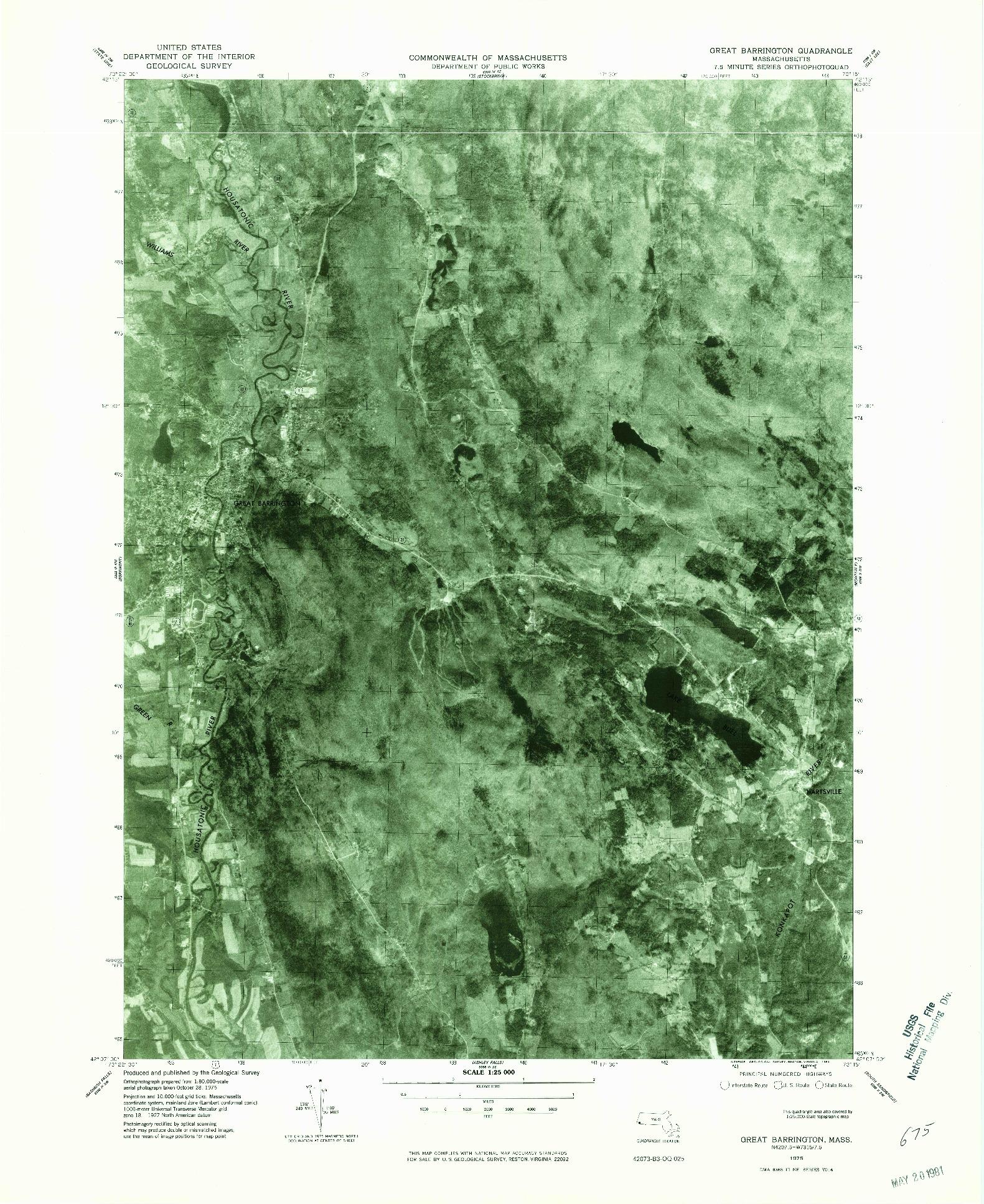 USGS 1:25000-SCALE QUADRANGLE FOR GREAT BARRINGTON, MA 1975