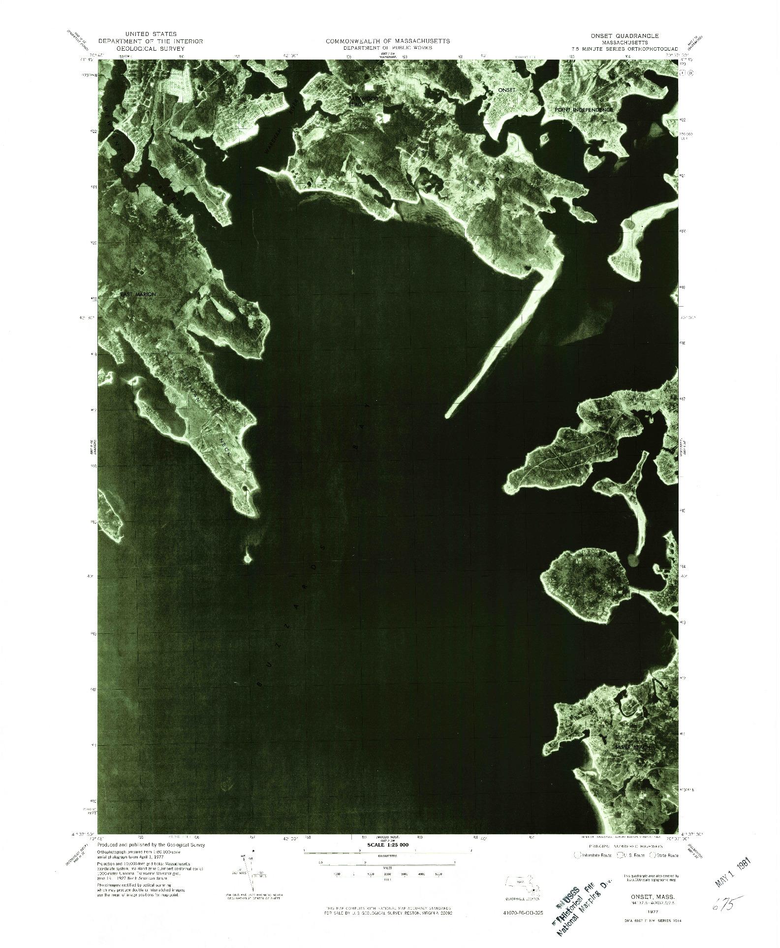 USGS 1:25000-SCALE QUADRANGLE FOR ONSET, MA 1977