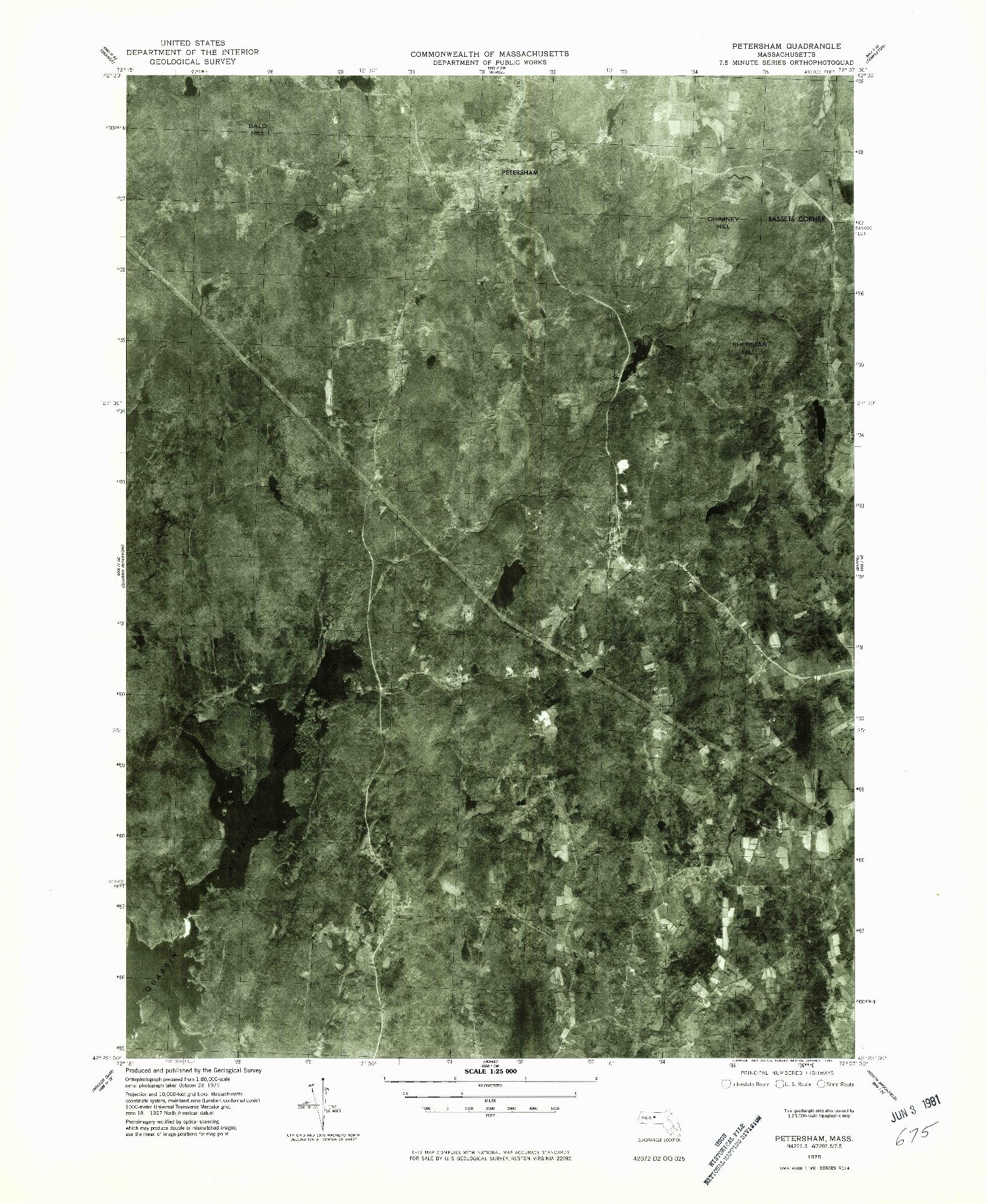 USGS 1:25000-SCALE QUADRANGLE FOR PETERSHAM, MA 1975