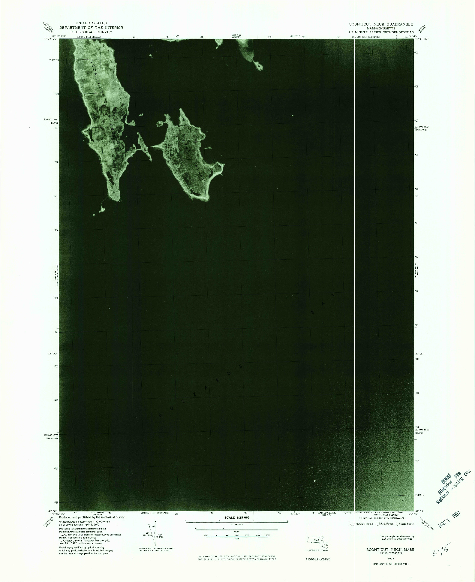 USGS 1:25000-SCALE QUADRANGLE FOR SCONTICUT NECK, MA 1977