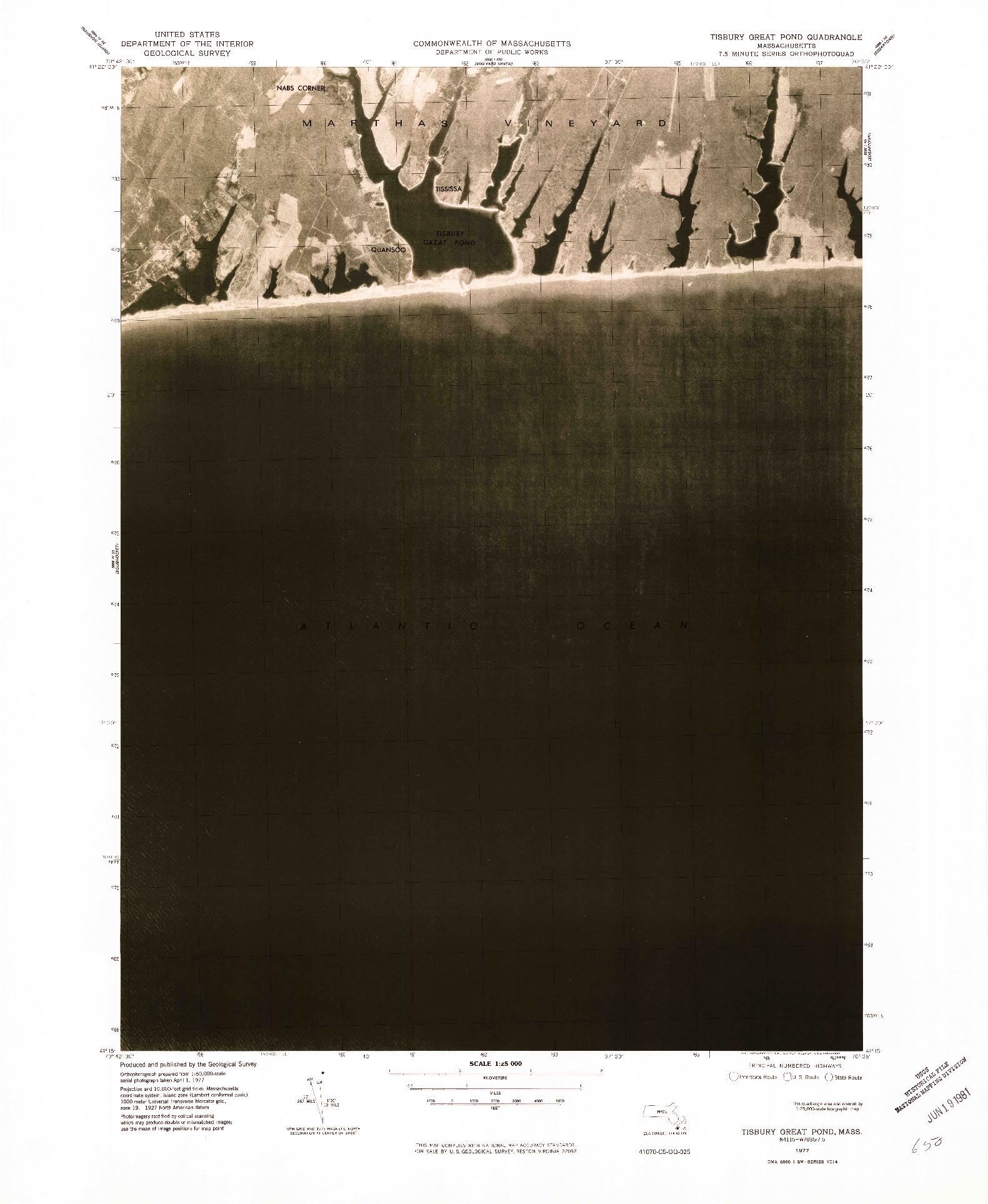 USGS 1:25000-SCALE QUADRANGLE FOR TISBURY GREAT POND, MA 1977