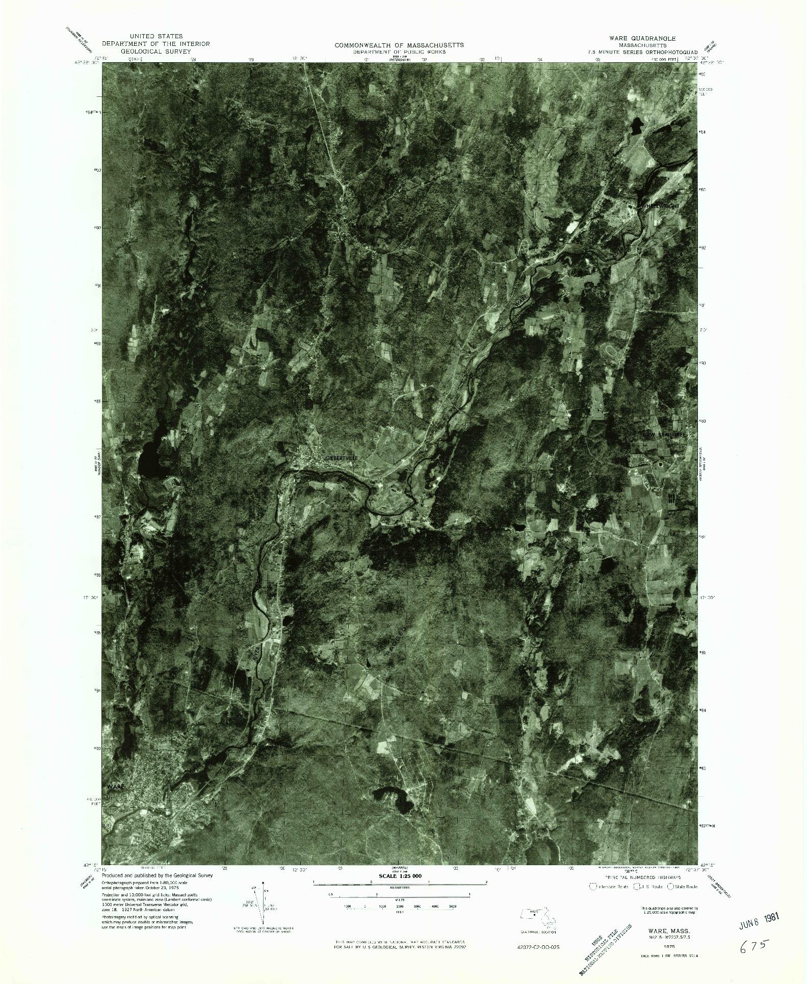USGS 1:25000-SCALE QUADRANGLE FOR WARE, MA 1975