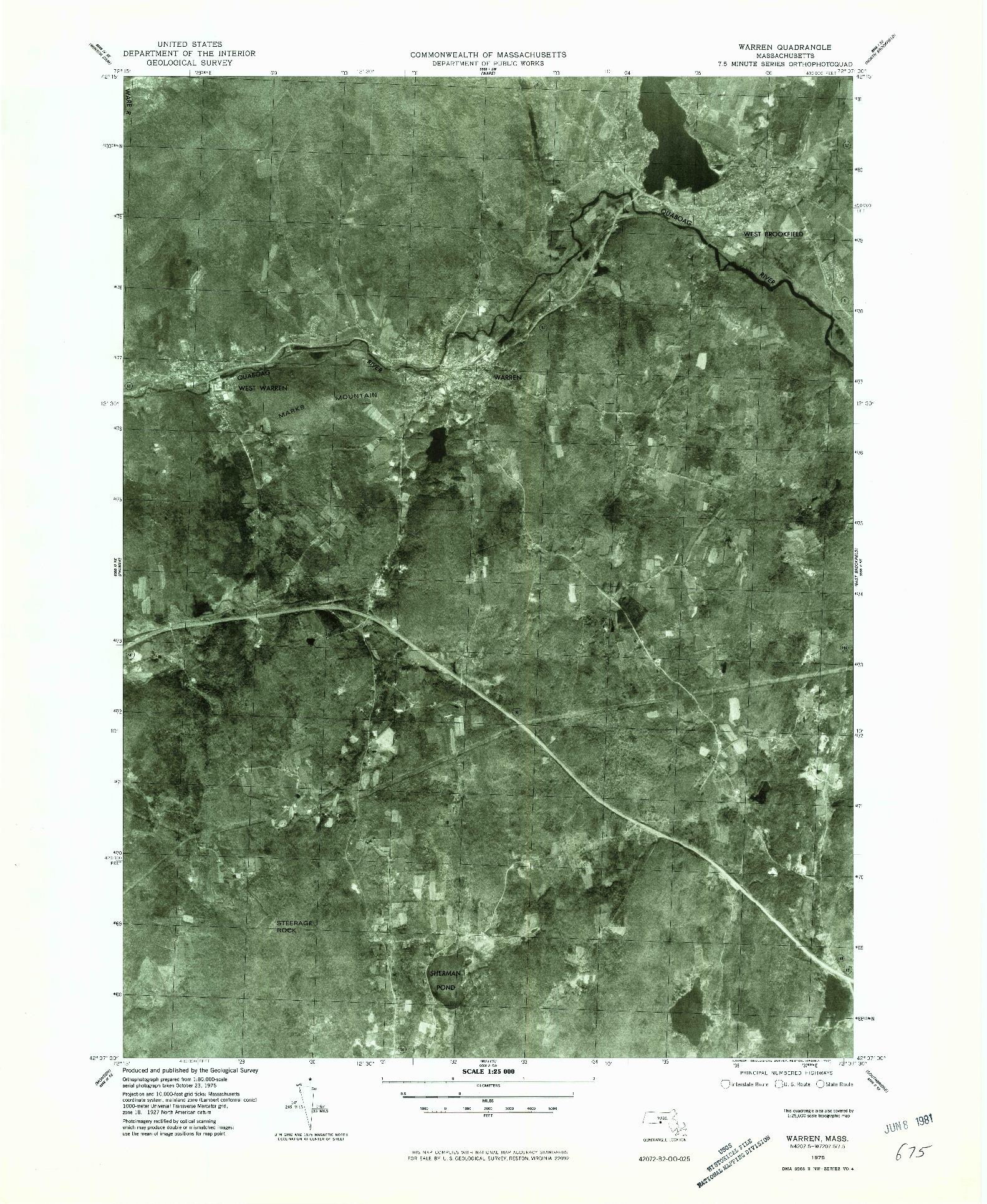 USGS 1:25000-SCALE QUADRANGLE FOR WARREN, MA 1975