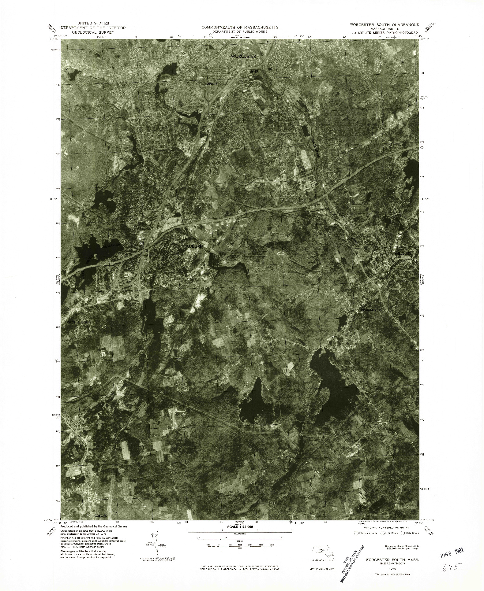 USGS 1:25000-SCALE QUADRANGLE FOR WORCESTER SOUTH, MA 1975