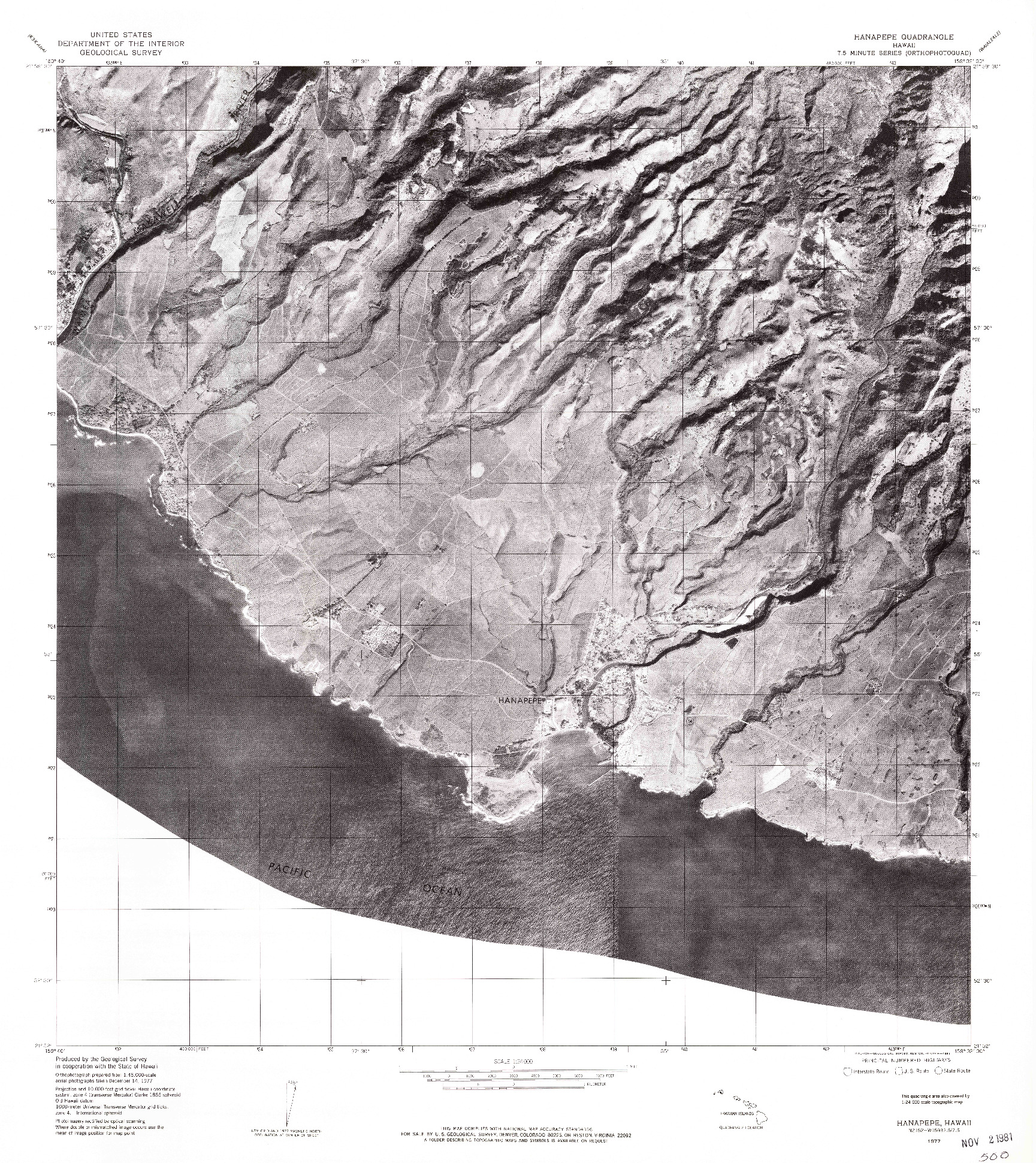 USGS 1:24000-SCALE QUADRANGLE FOR HANAPEPE, HI 1977