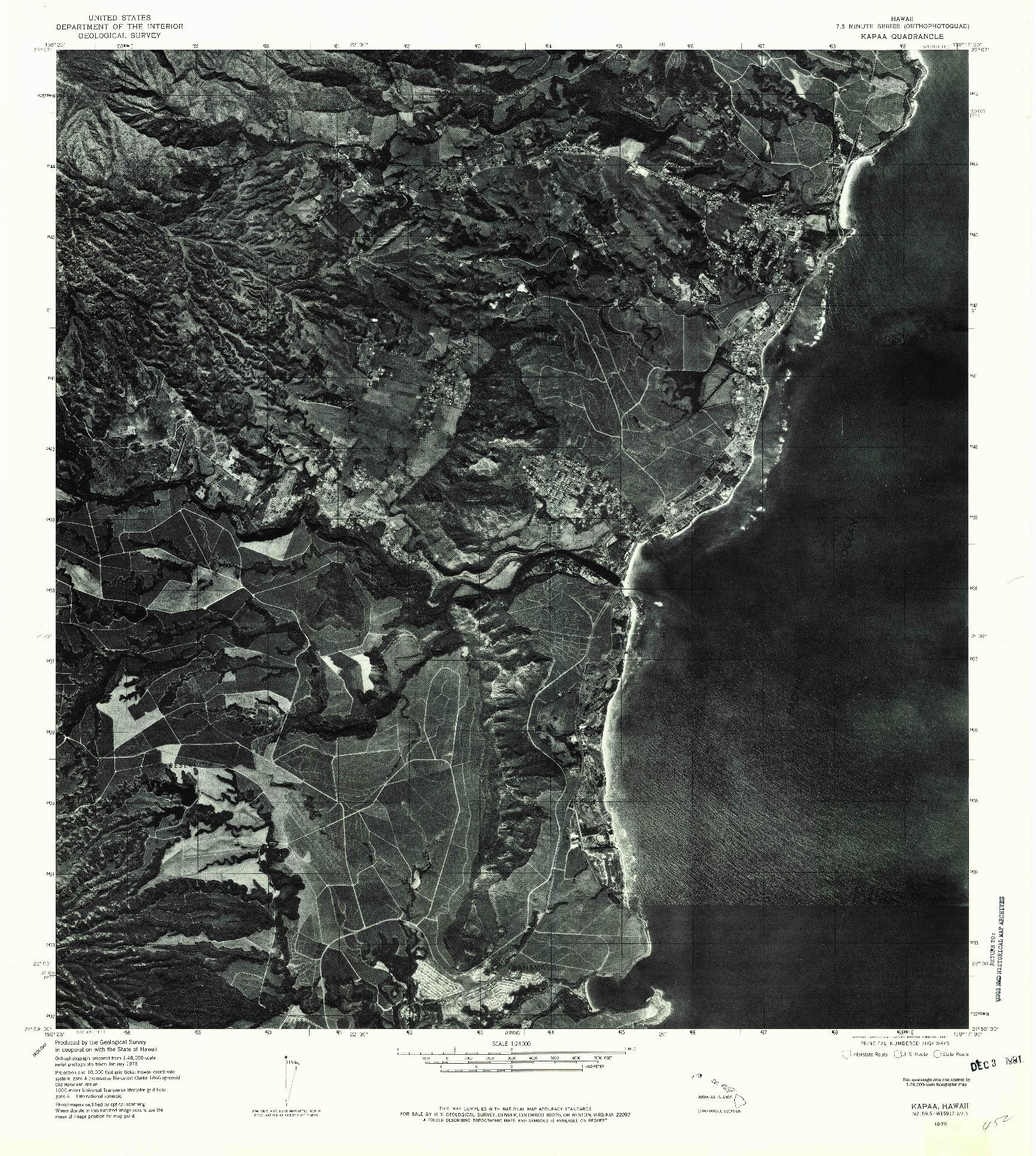 USGS 1:24000-SCALE QUADRANGLE FOR KAPAA, HI 1978
