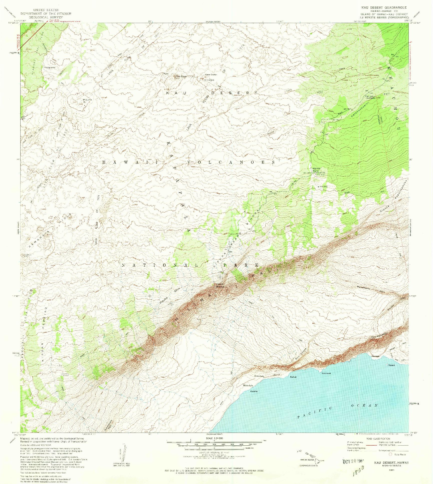 USGS 1:24000-SCALE QUADRANGLE FOR KAU DESERT, HI 1981