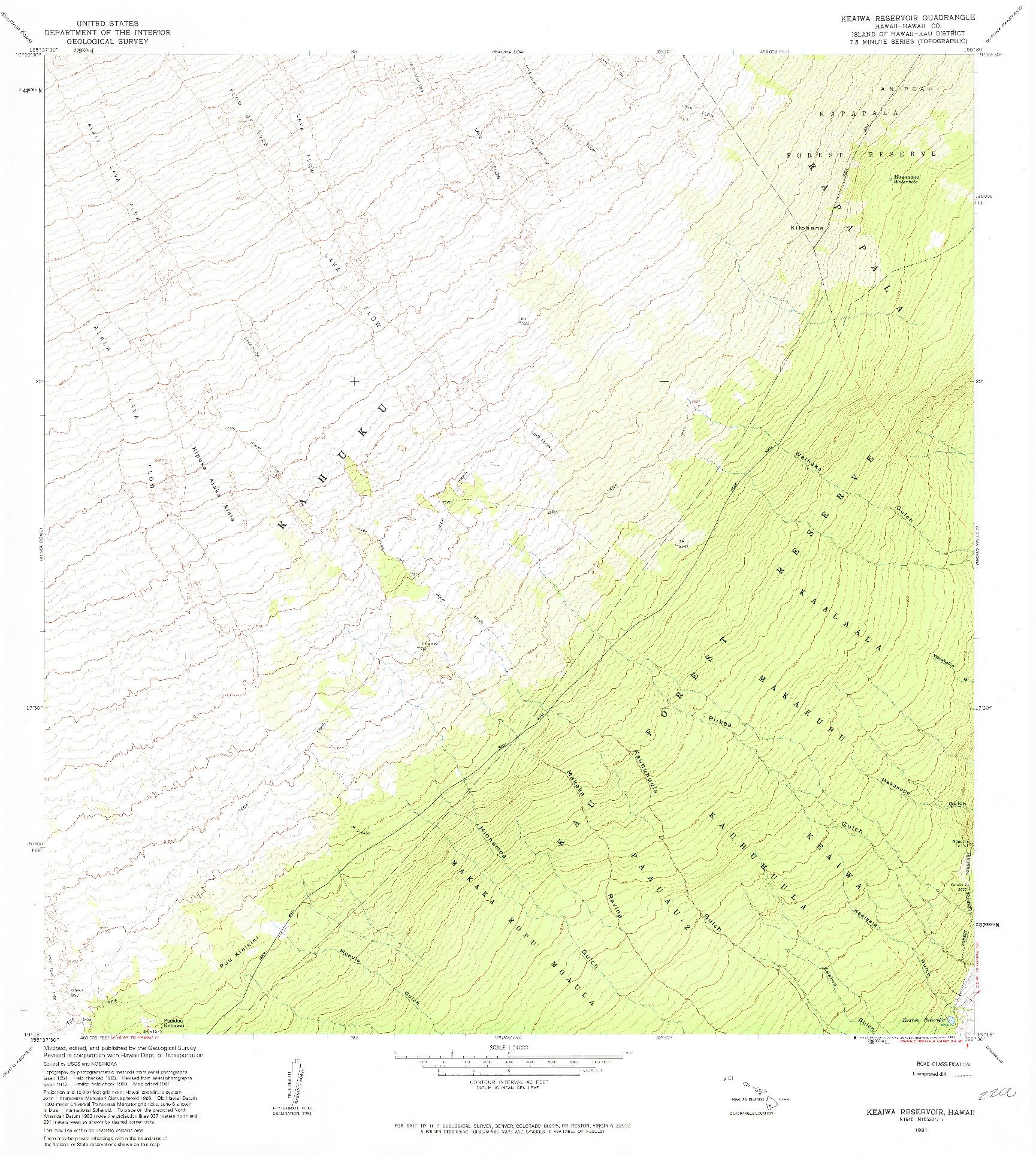 USGS 1:24000-SCALE QUADRANGLE FOR KEAIWA RESERVOIR, HI 1981