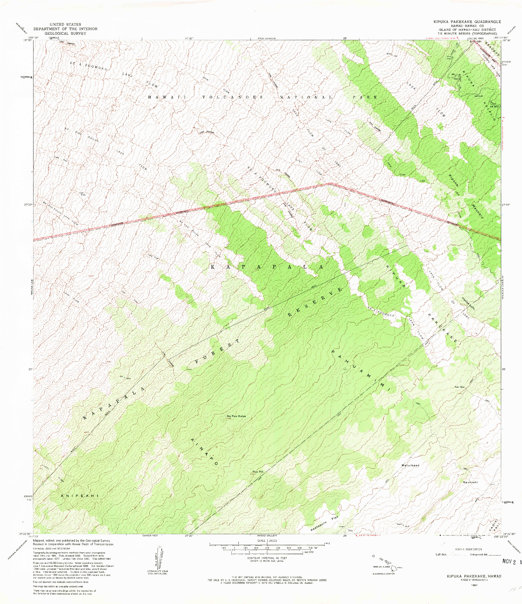 USGS 1:24000-SCALE QUADRANGLE FOR KIPUKA PAKEKAKE, HI 1981
