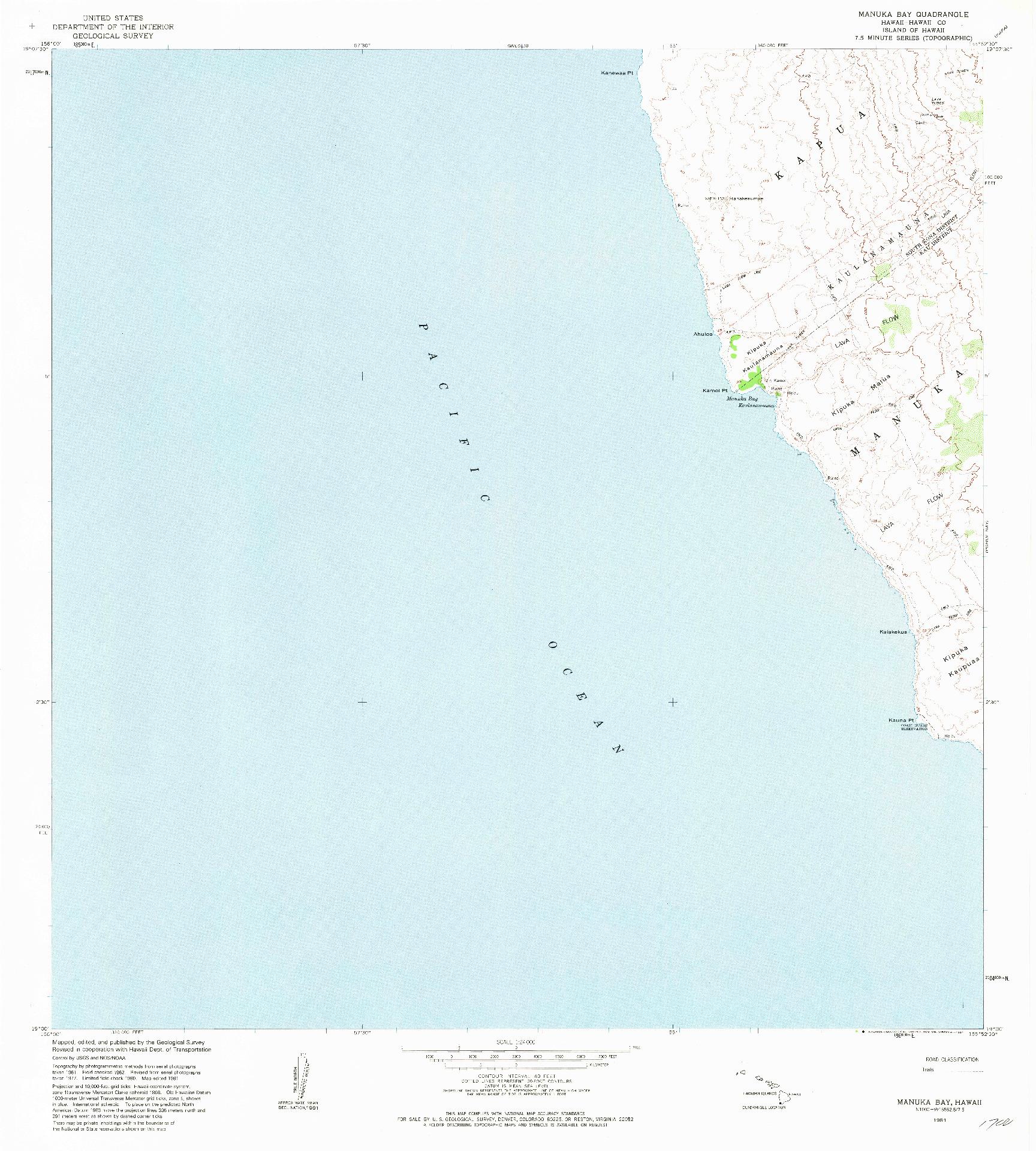 USGS 1:24000-SCALE QUADRANGLE FOR MANUKA BAY, HI 1981