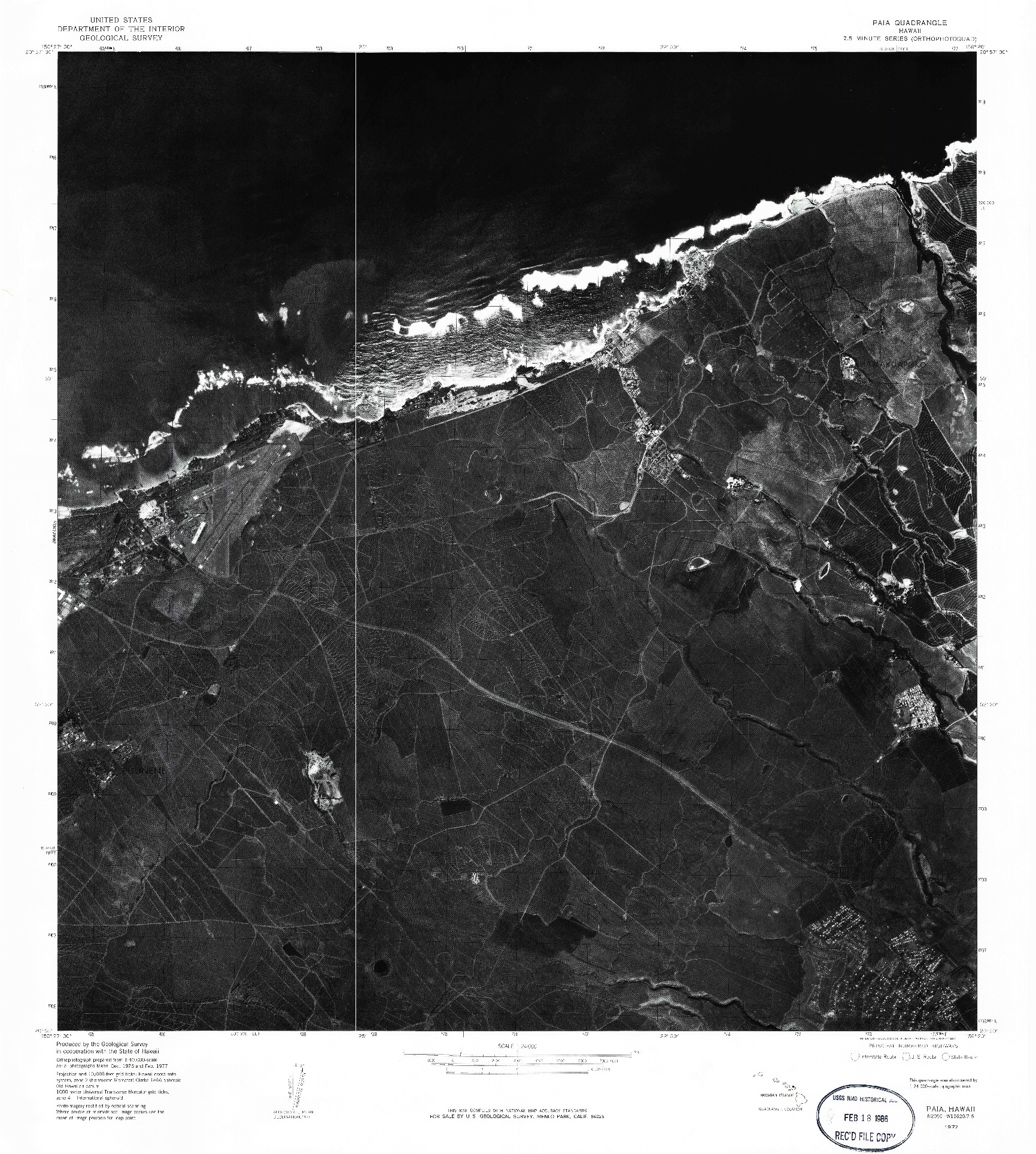 USGS 1:24000-SCALE QUADRANGLE FOR PAIA, HI 1977
