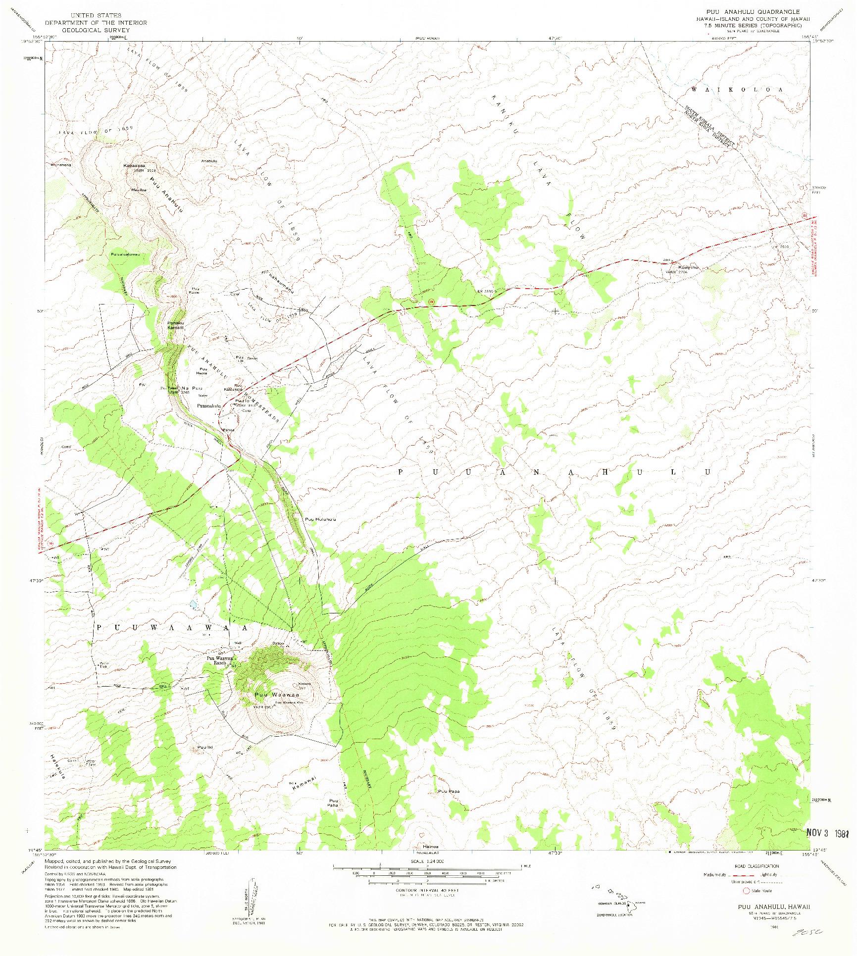 USGS 1:24000-SCALE QUADRANGLE FOR PUU ANAHULU, HI 1981