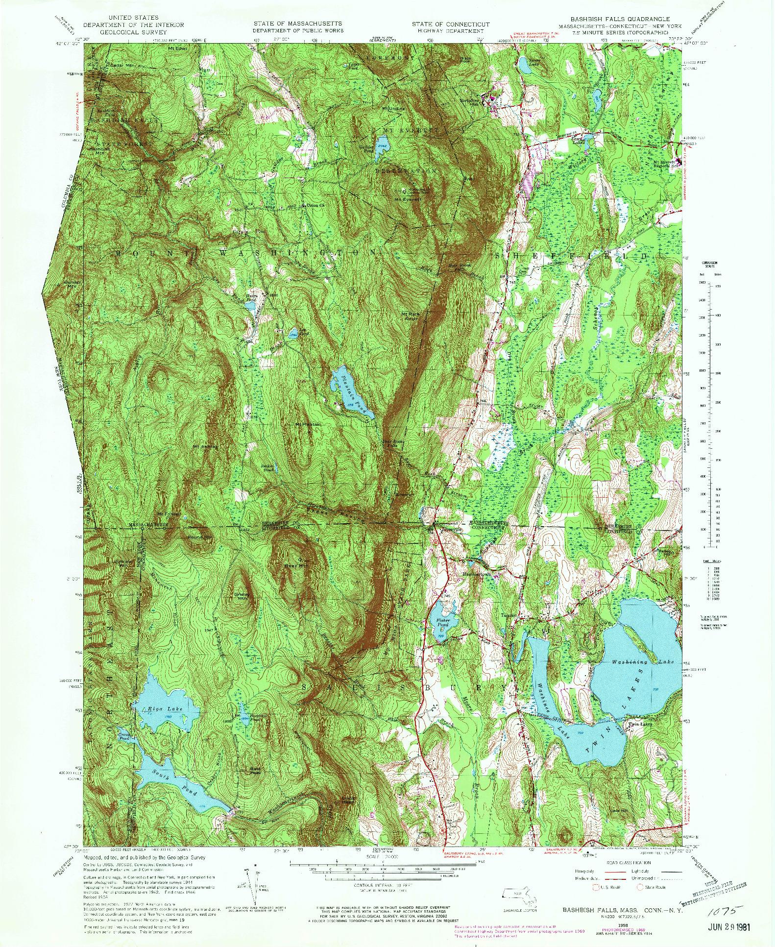 USGS 1:24000-SCALE QUADRANGLE FOR BASHBISH FALLS, MA 1958