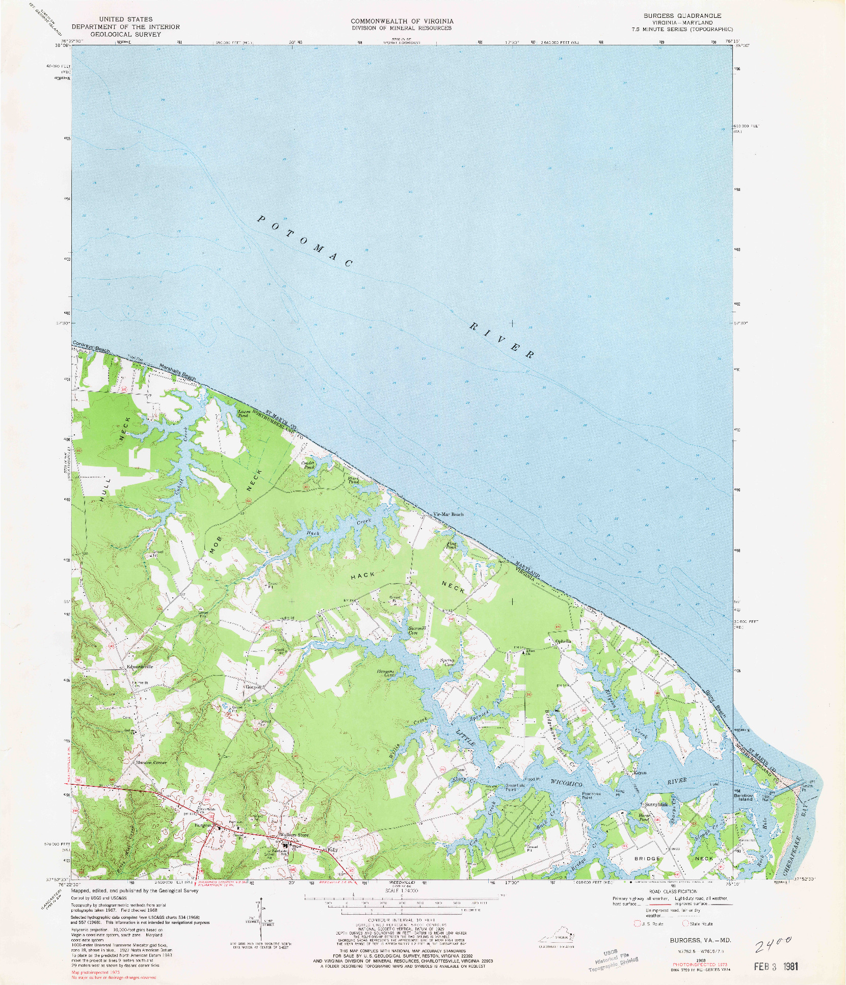 USGS 1:24000-SCALE QUADRANGLE FOR BURGESS, VA 1968
