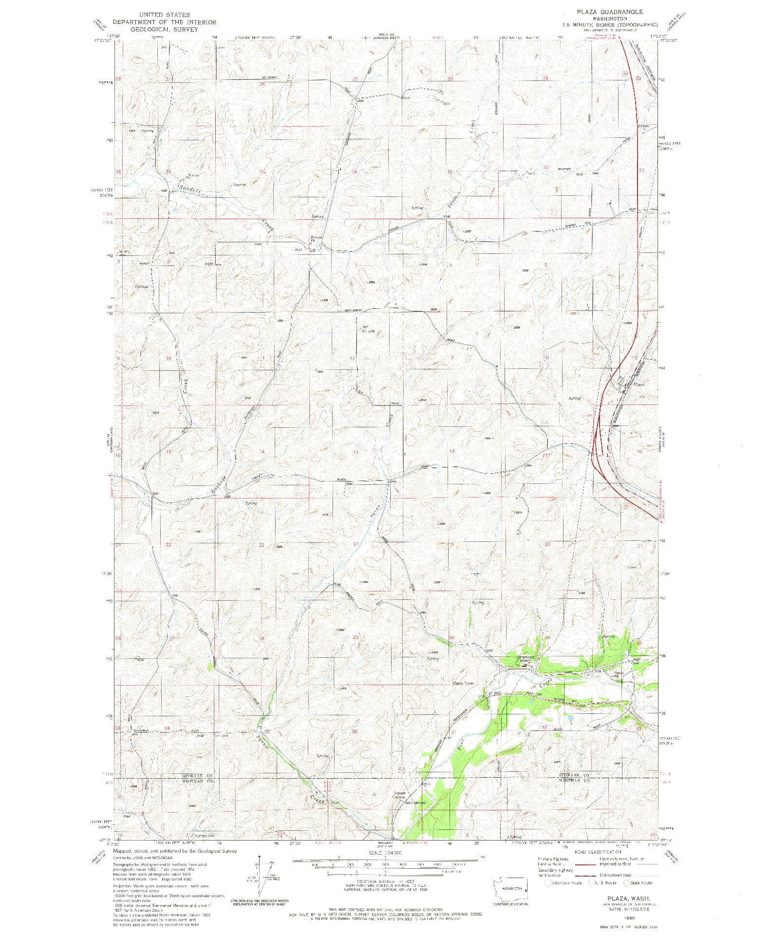 USGS 1:24000-SCALE QUADRANGLE FOR PLAZA, WA 1980