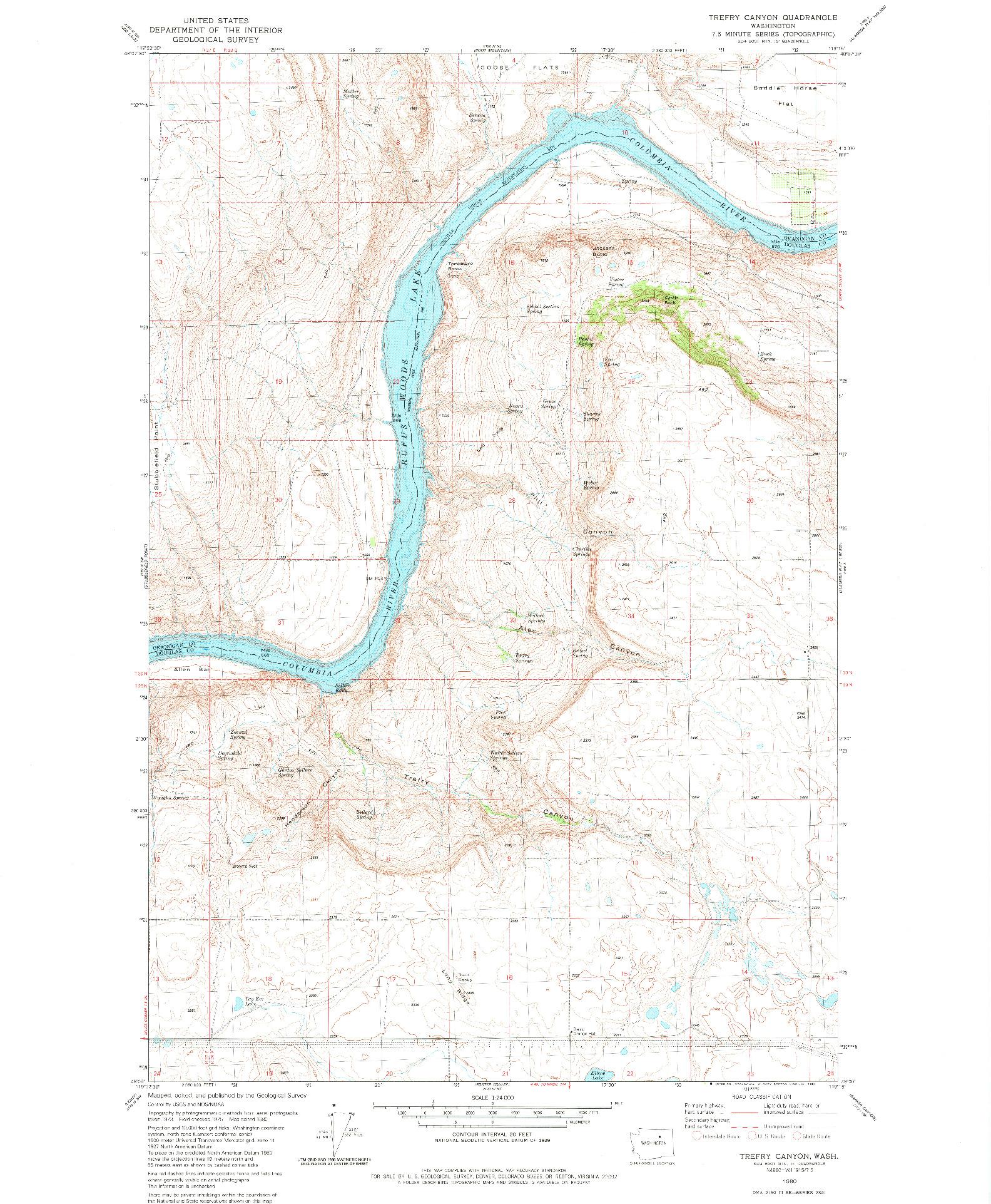 USGS 1:24000-SCALE QUADRANGLE FOR TREFRY CANYON, WA 1980